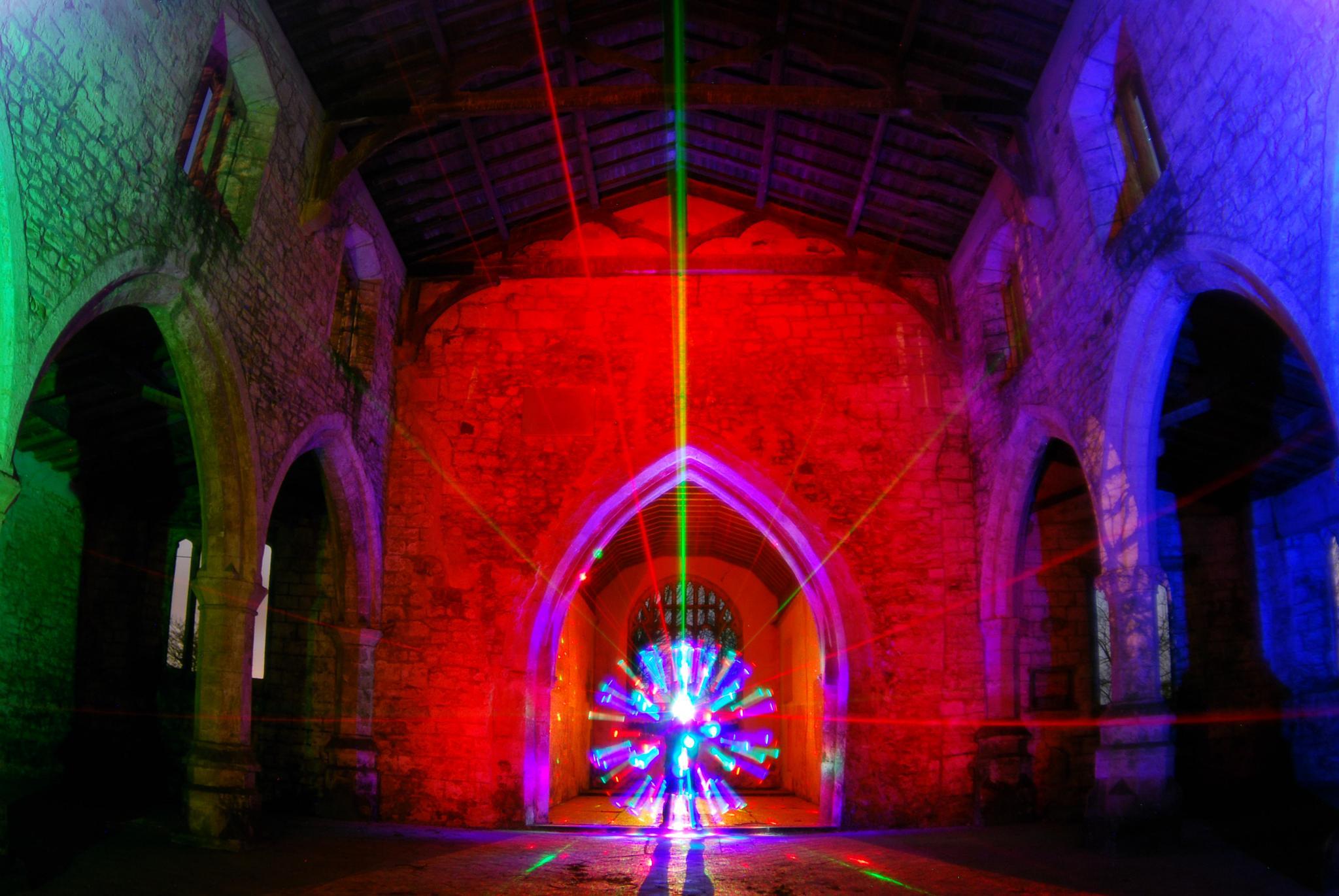 Spiky laser orb in Skidbrooke church by JamesdeLunaLightpainting