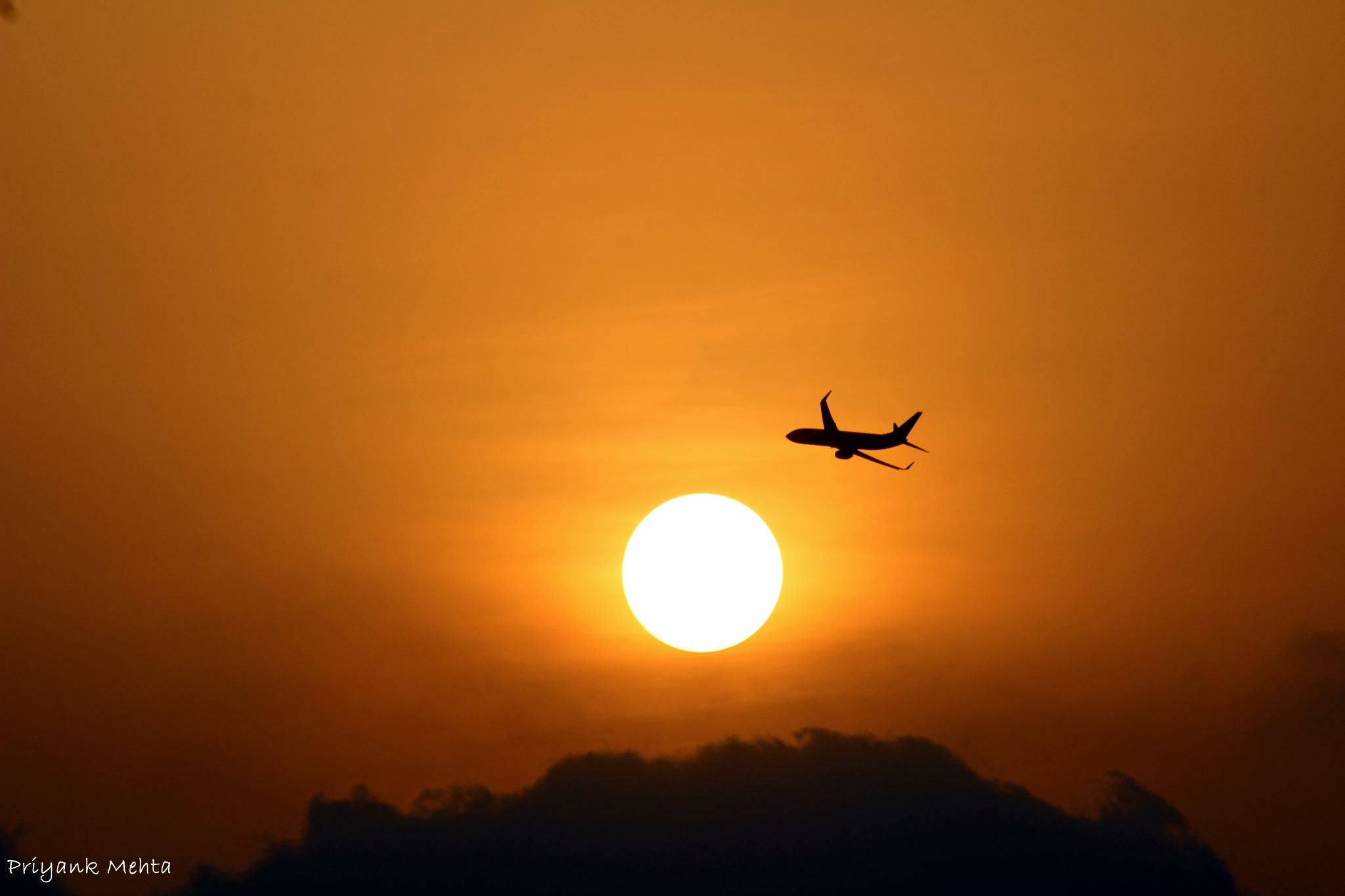 Plane With Sunset by Priyank J Mehta