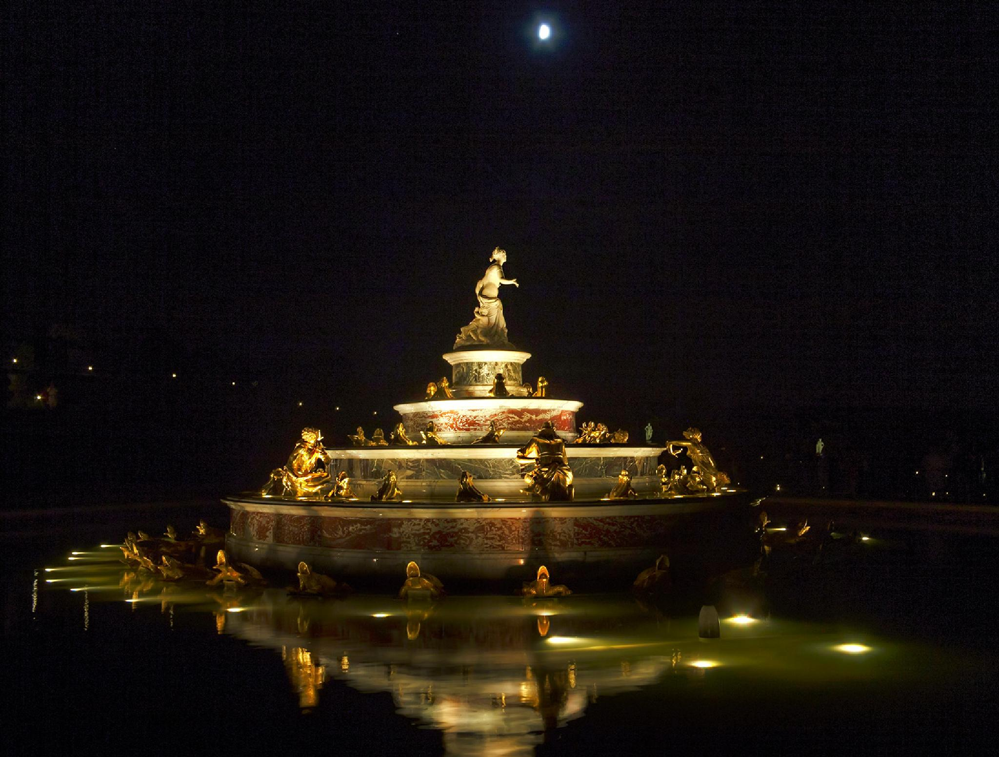 Versailles at Night + Moon by harald.seiwert