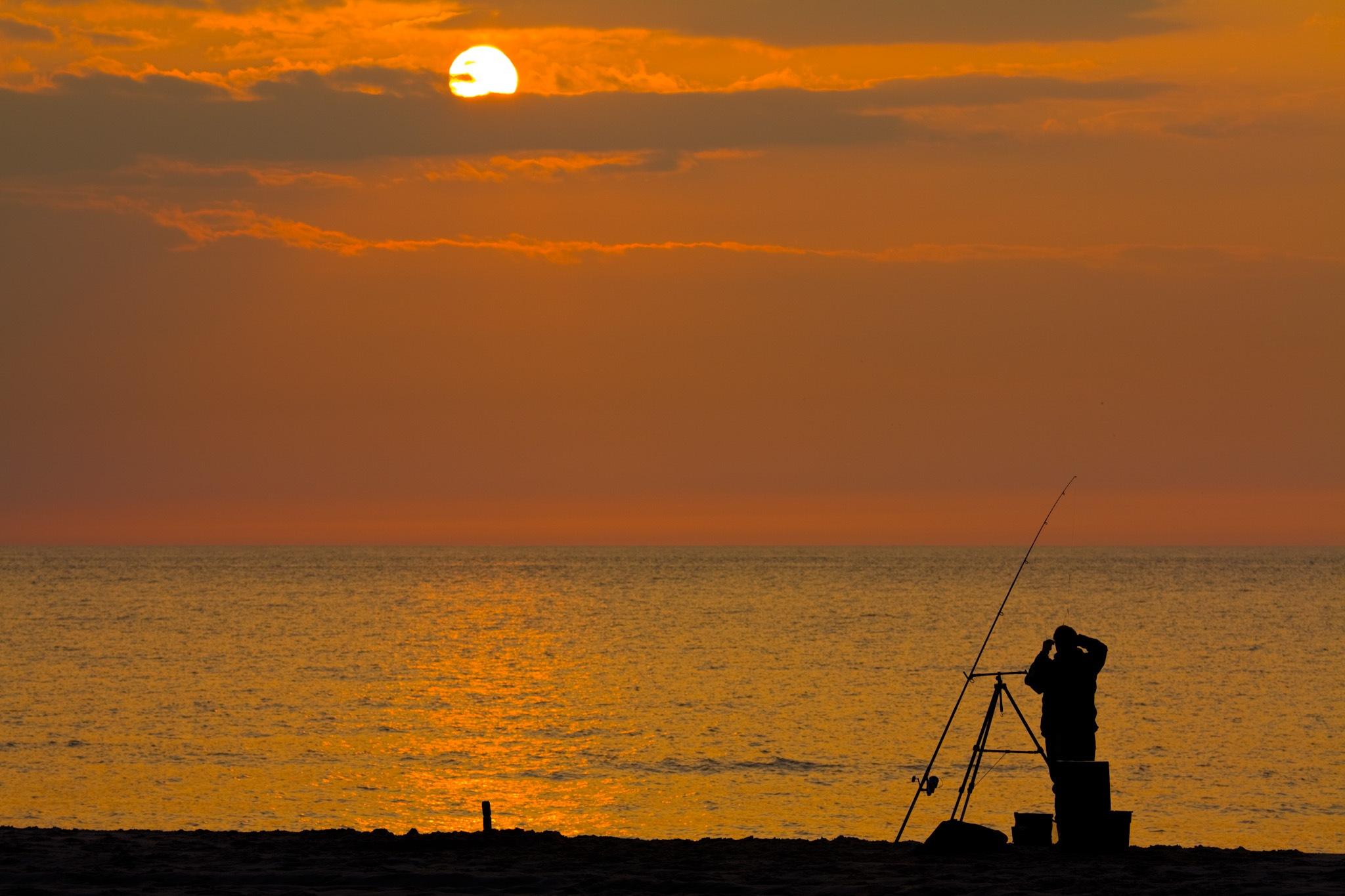 Sunset fishing by Michel van Nederveen