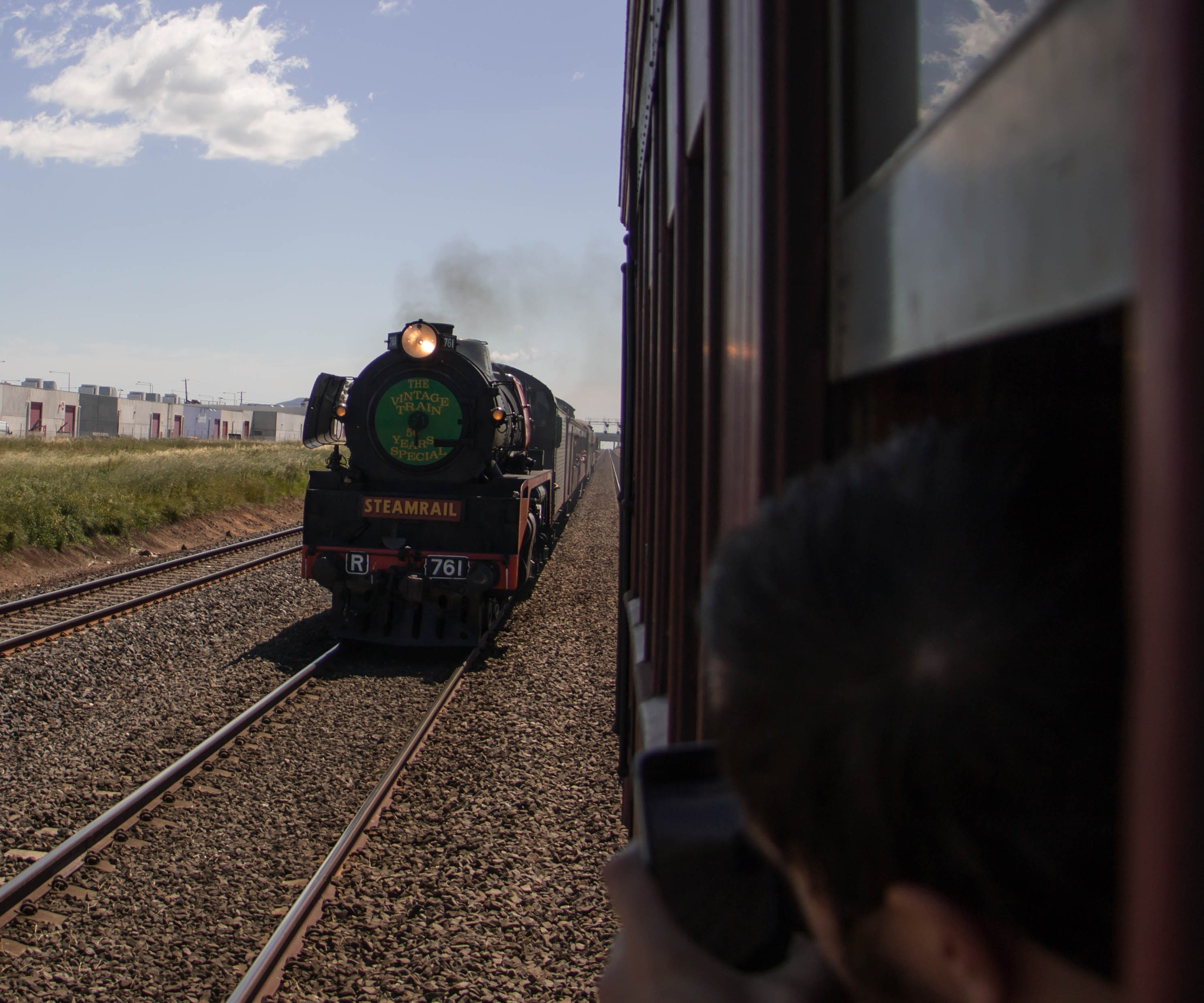 Overtaking an R class steam train between Melbourne and Geelong by tastigr