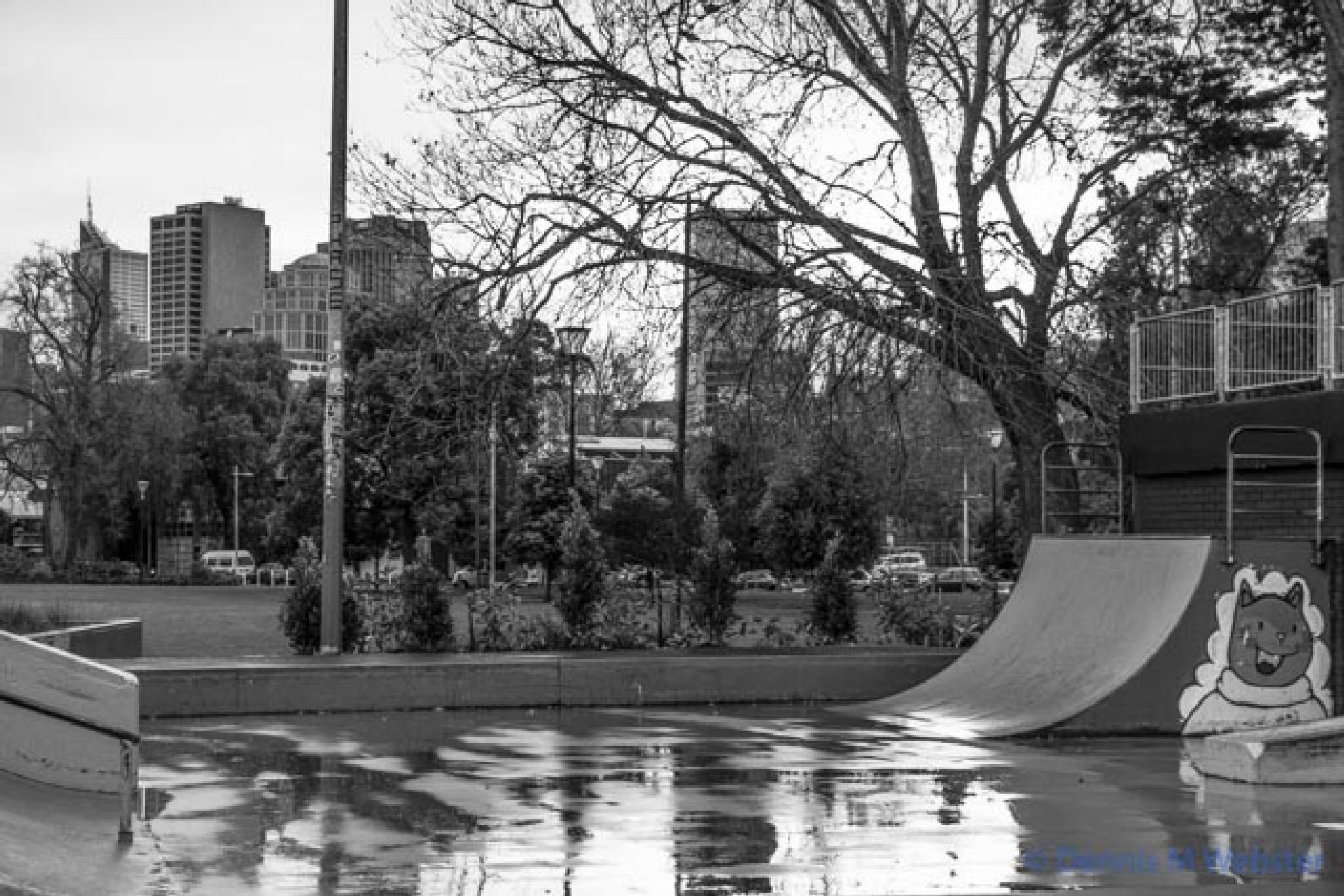 Photo in Urban #alexandra gardens #melbourne #cold #wet #winter #skatepark #reflection #black and white