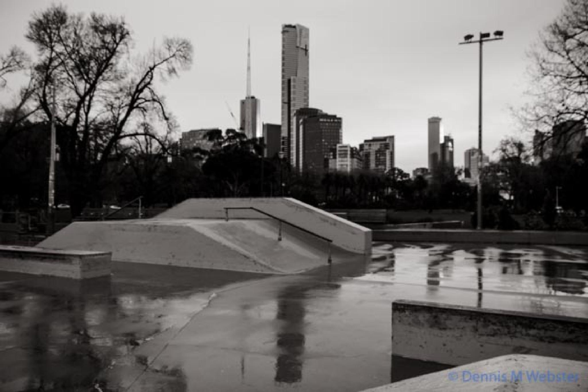 Photo in Black and White #alexandra gardens #melbourne #cold #wet #winter #skatepark #gloom #cityscape #black and white