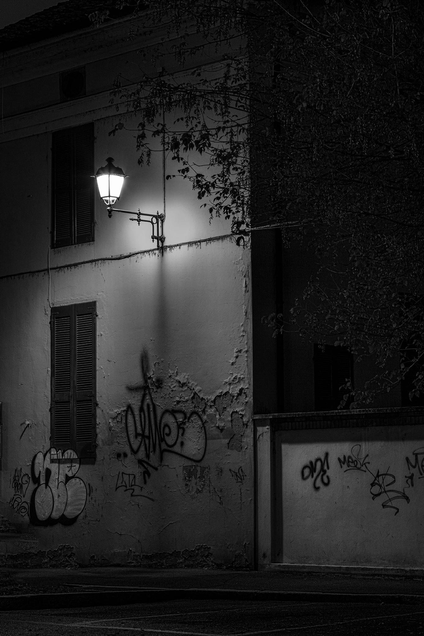 Street Lamp over murals by gabrielefabrizios