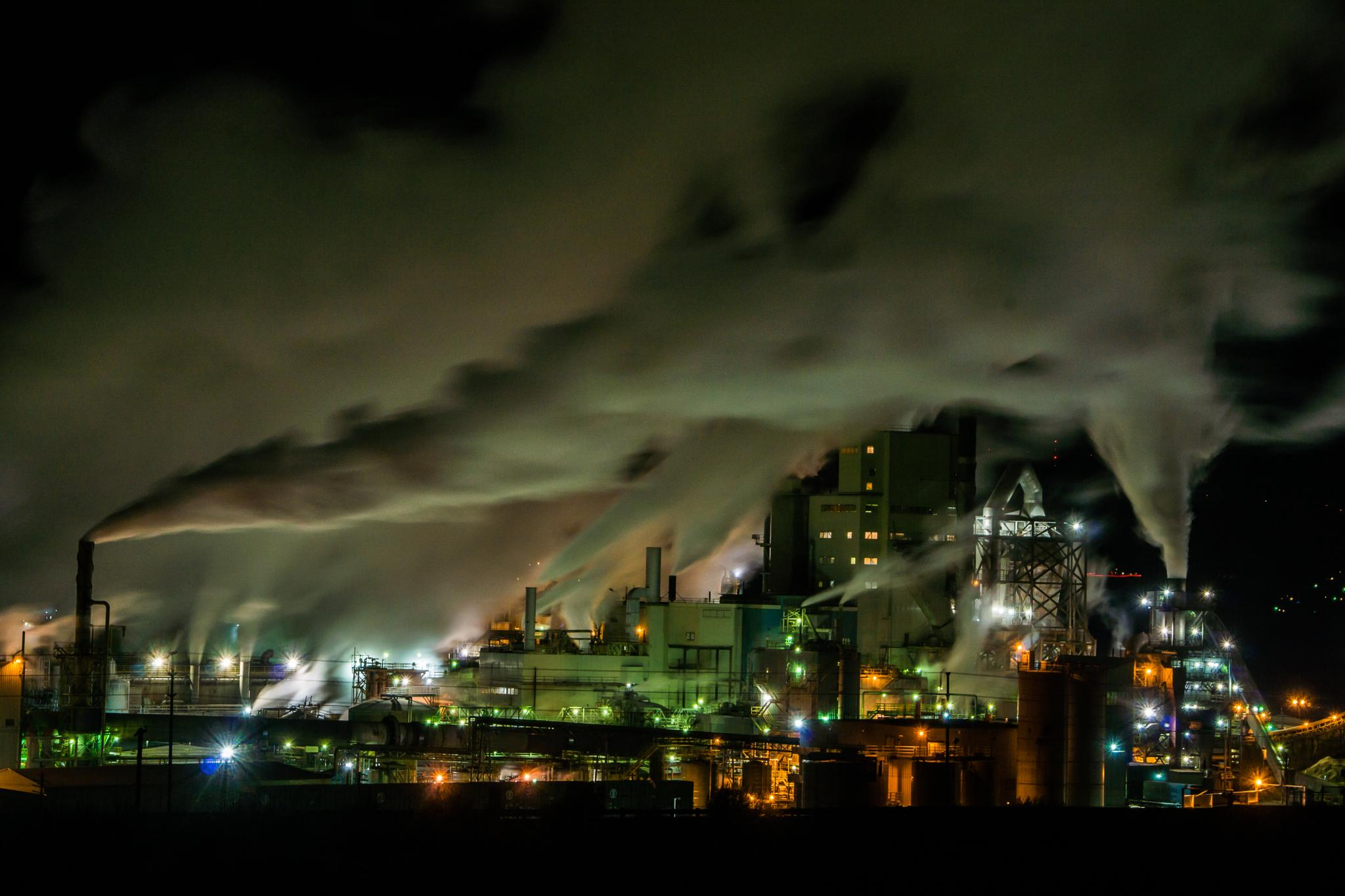 Papermill at Night by Ranbud