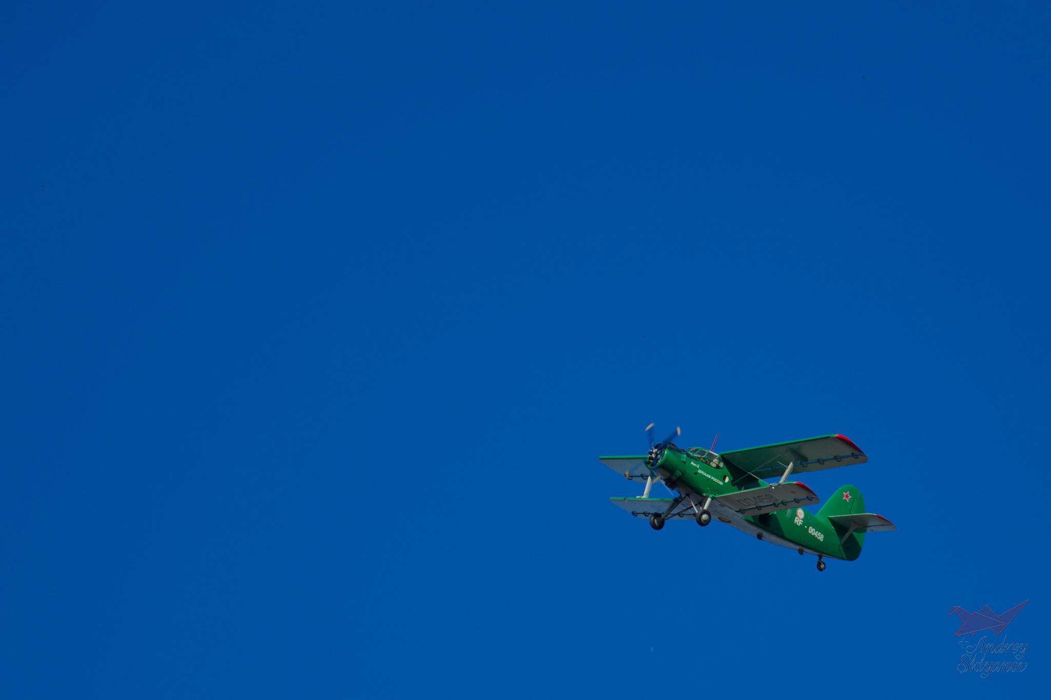 Airplane on the blue sky by Andrey Sklyanov
