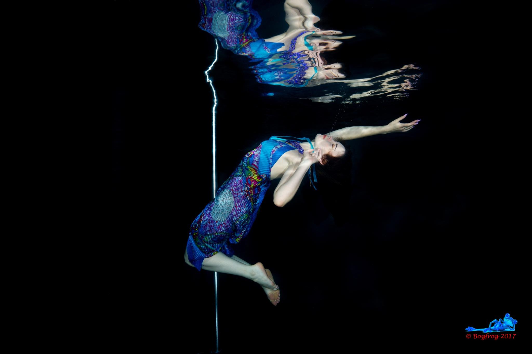 Blue Dress Underwater by Bogfrog