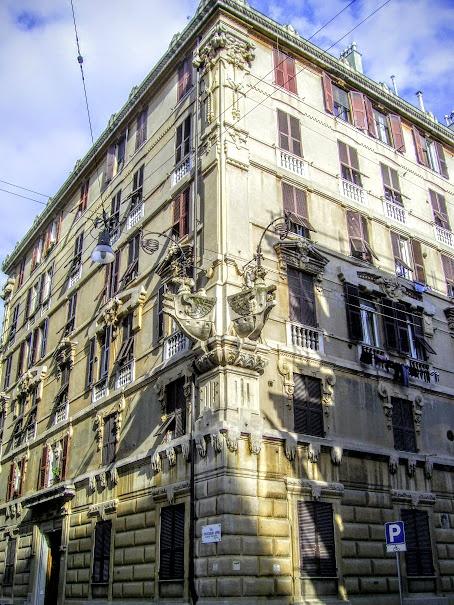 """View of the """"Palazzo del Ghiaccio"""" (Ice palace) in Genoa (via Finocchiaro Aprile) by Gelo Valle"""