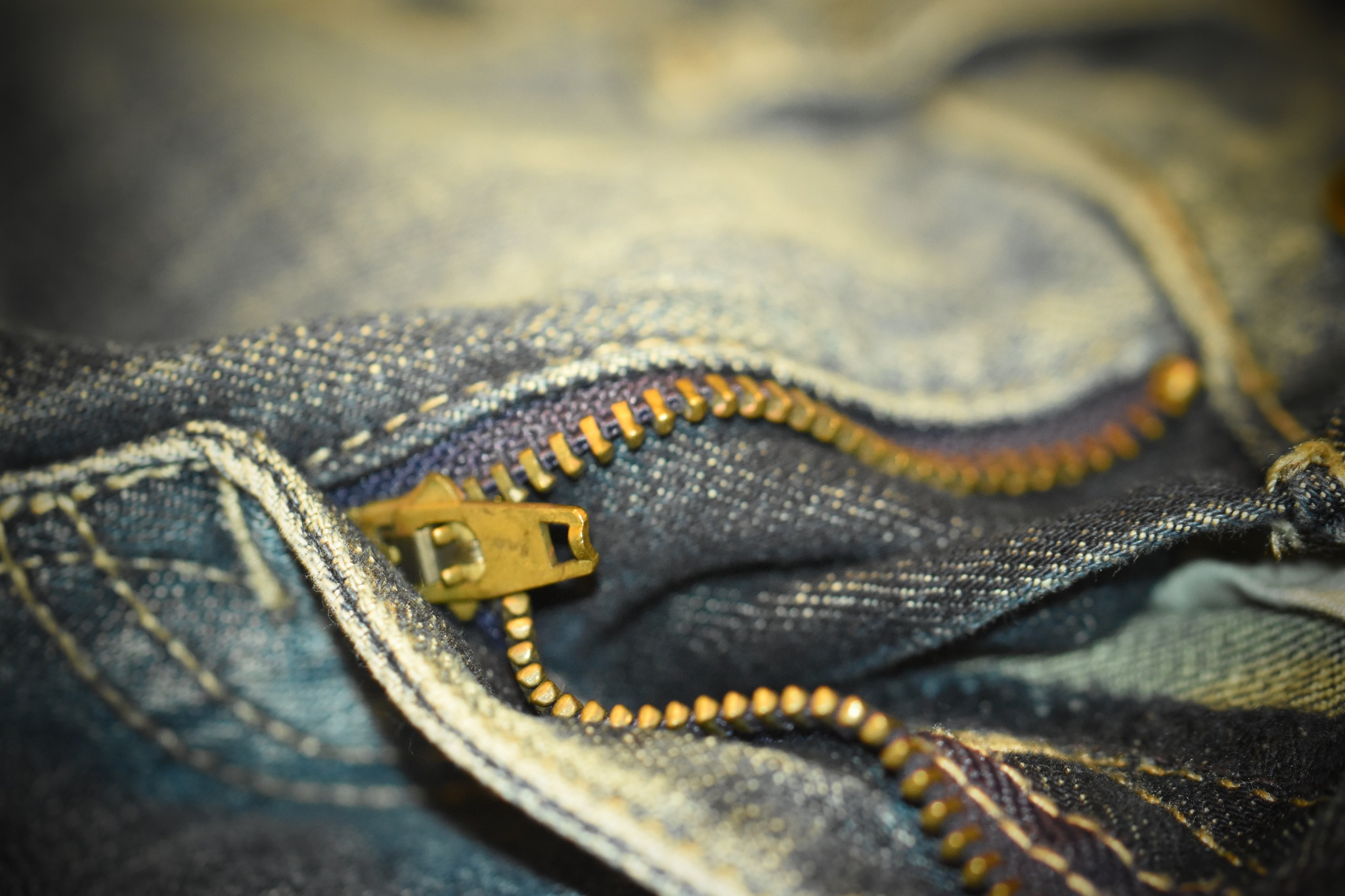 Photo in Abstract #zipper #great invention! #gold #blue #purple #jeans #pants #everydaypants #casual #dof #macro