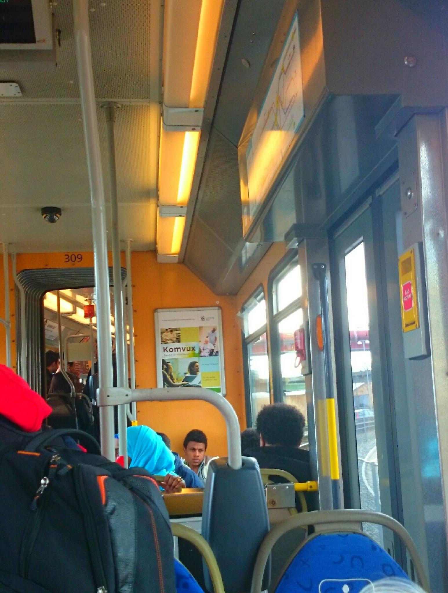 inside the commuter train  by Sherlina