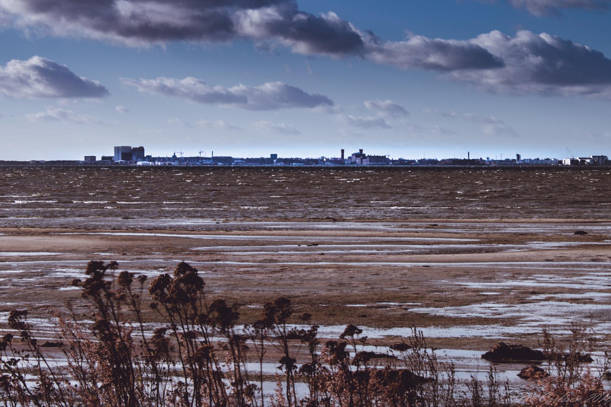 The City of Kalmar seen from The Island of Öland by carljan w carlsson