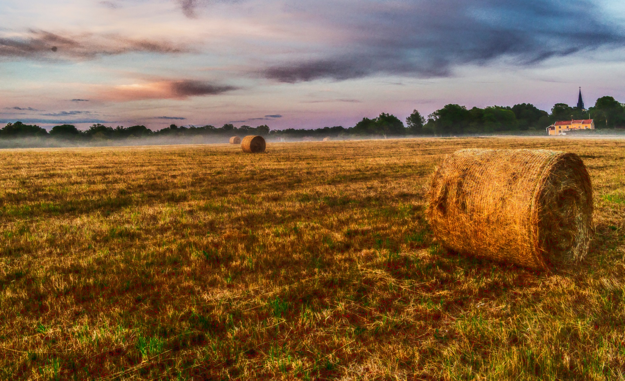 Hay in the Evening a Hot and Dry Summer by carljan w carlsson
