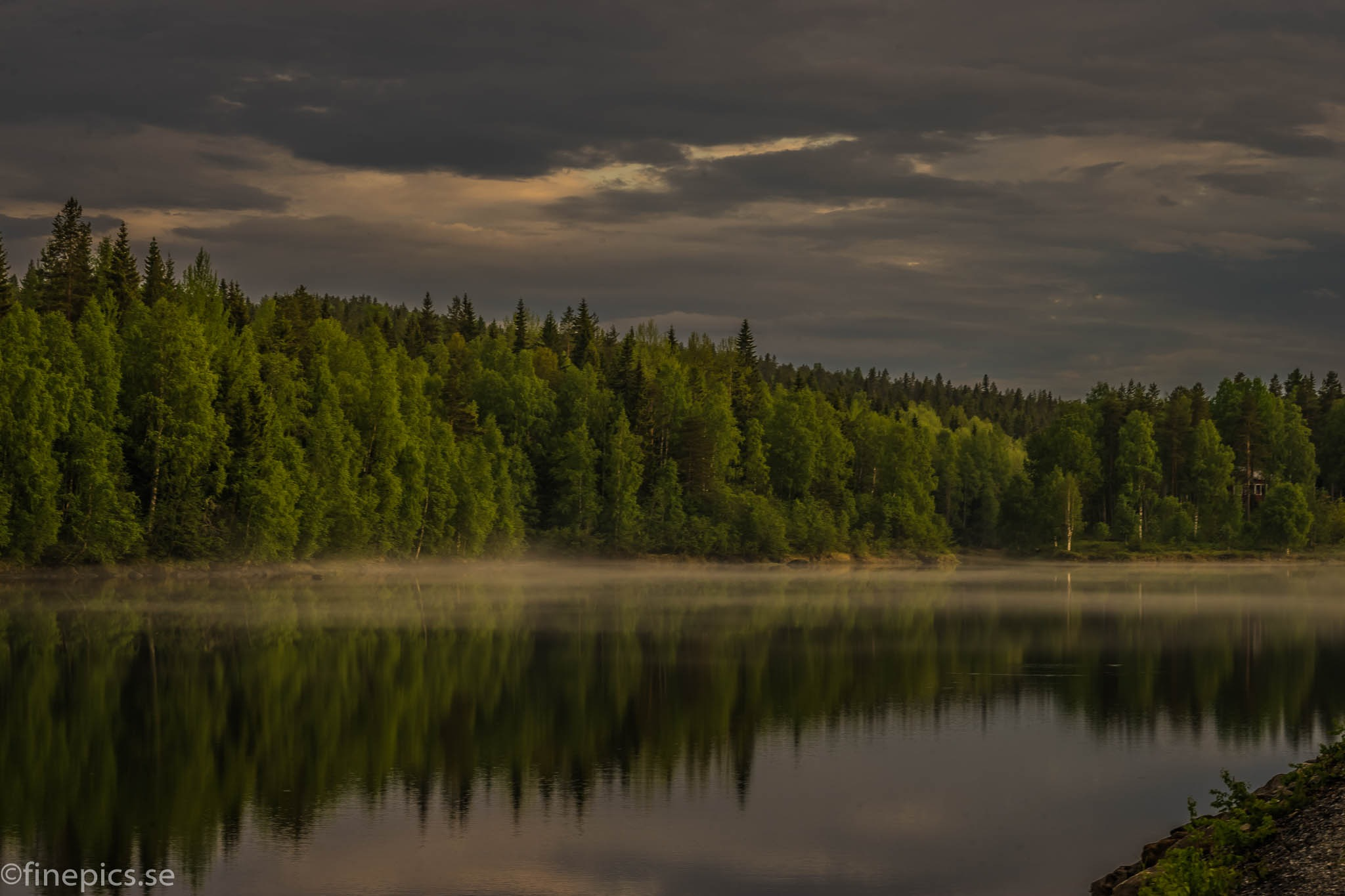 Fog over the river by Johan Bergenstråhle