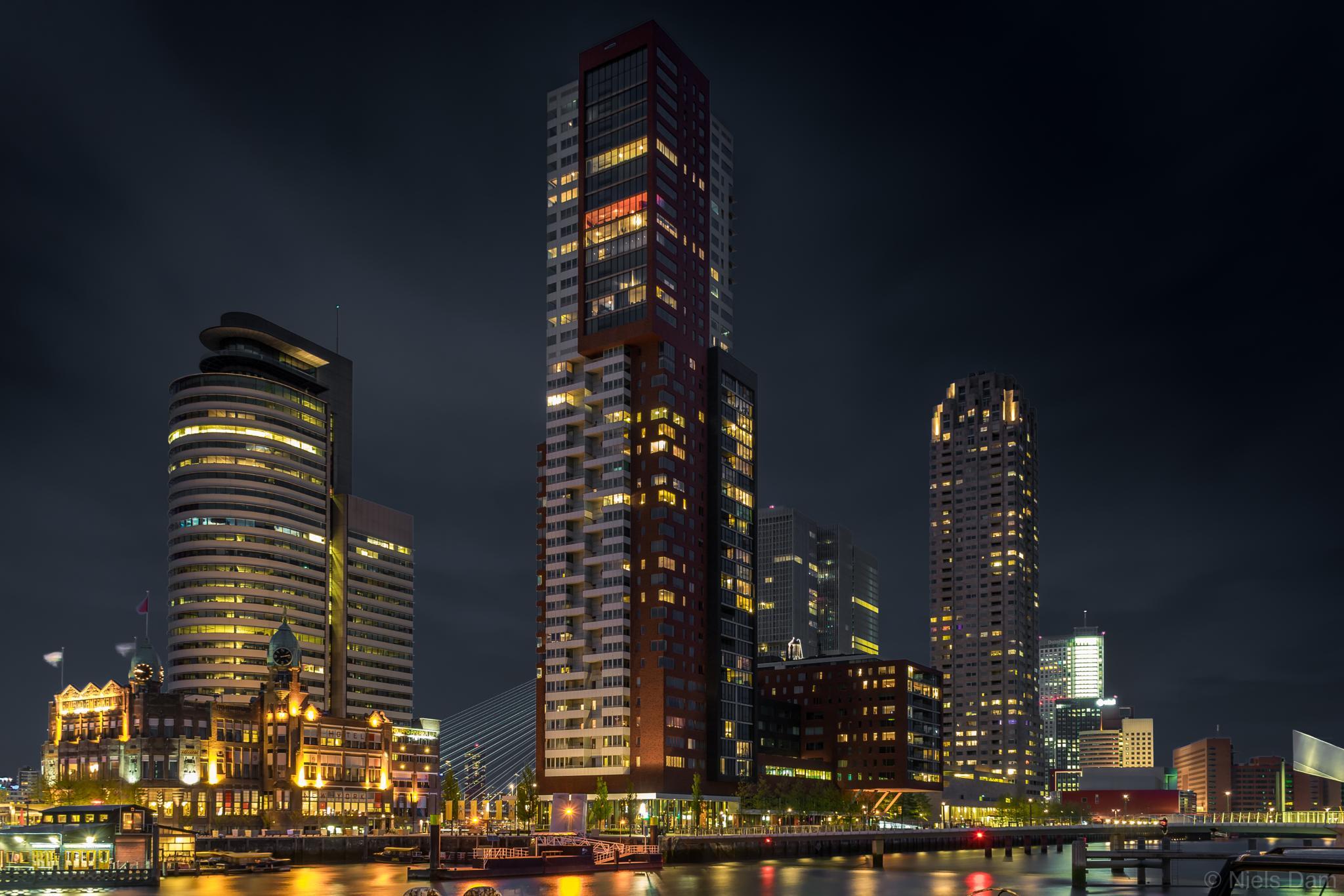 Kop van Zuid at night. by Niels Dam