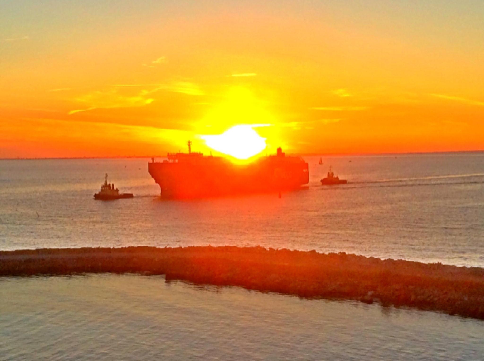 Sunset Malmoe Harbour  by Johan Meding