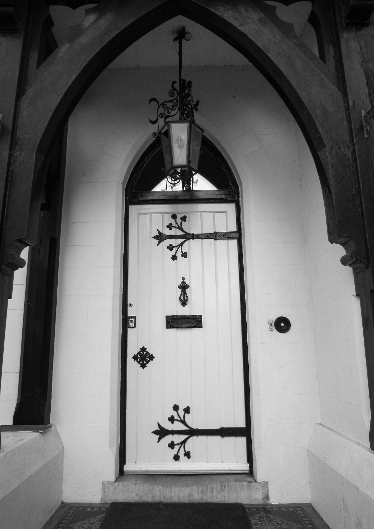 Photo in Black and White #cookham #church house #hinges #wrought ironwork #curlicues