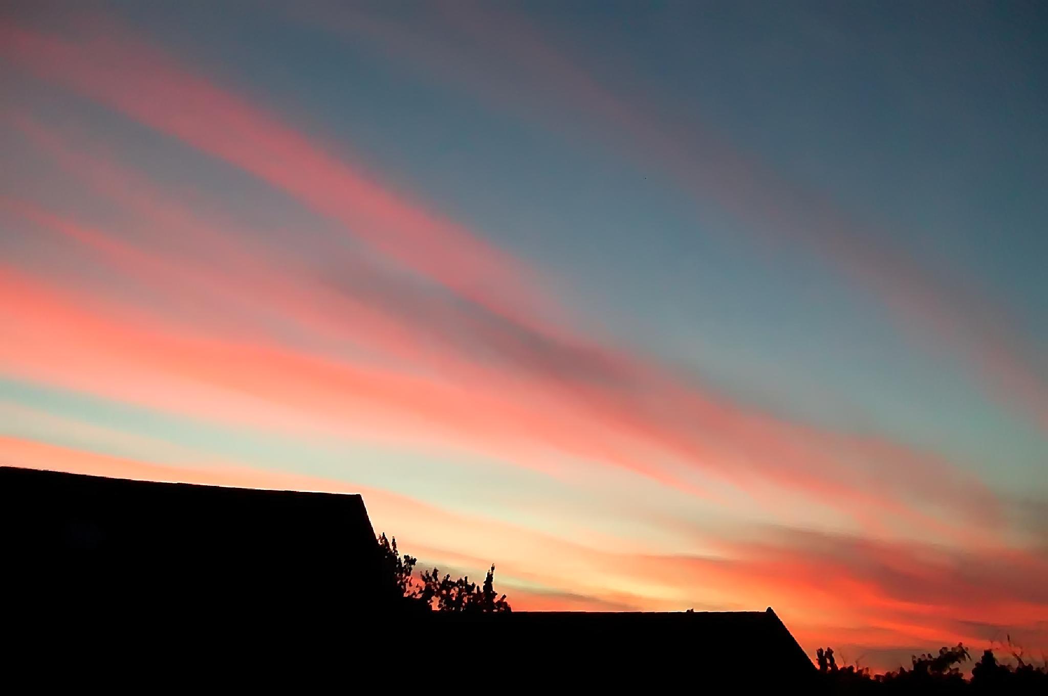 Photo in Landscape #kitchen window #sunset view #orange #pink #streaks