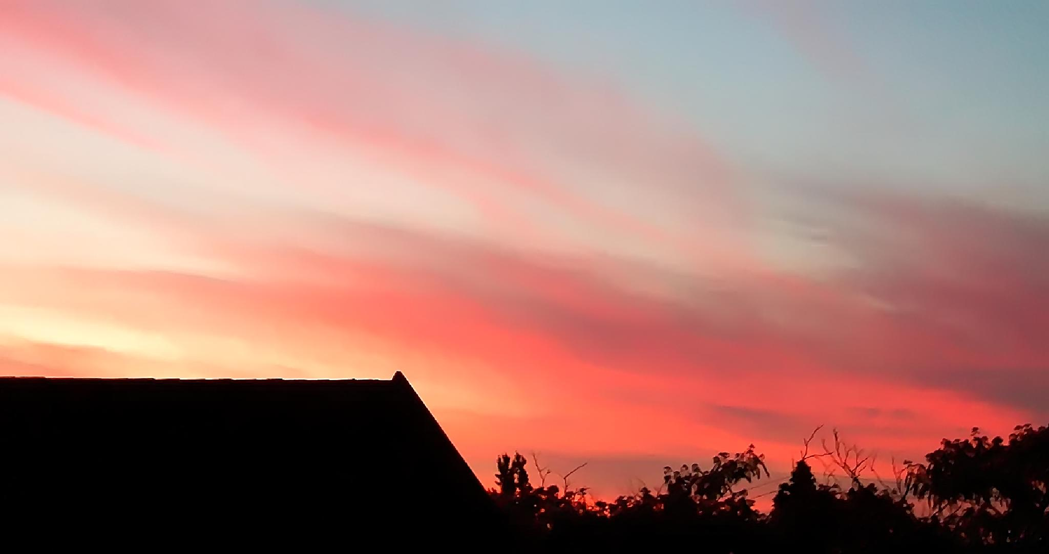 Photo in Landscape #kitchen window #sunset view #orange #pink #streaks
