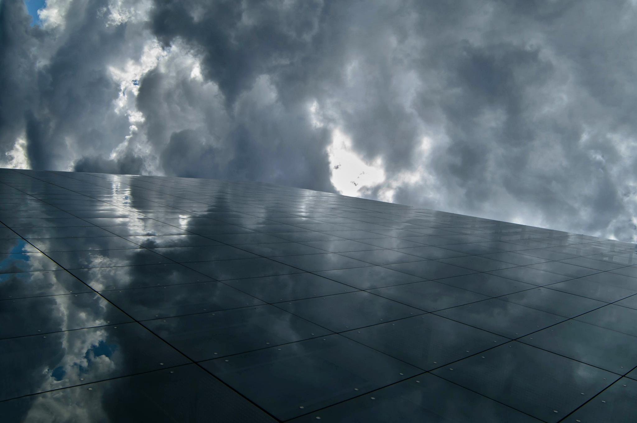 Photo in Nature #heaven #mirror image #clouds #boras #sweden #reflected #glass wall