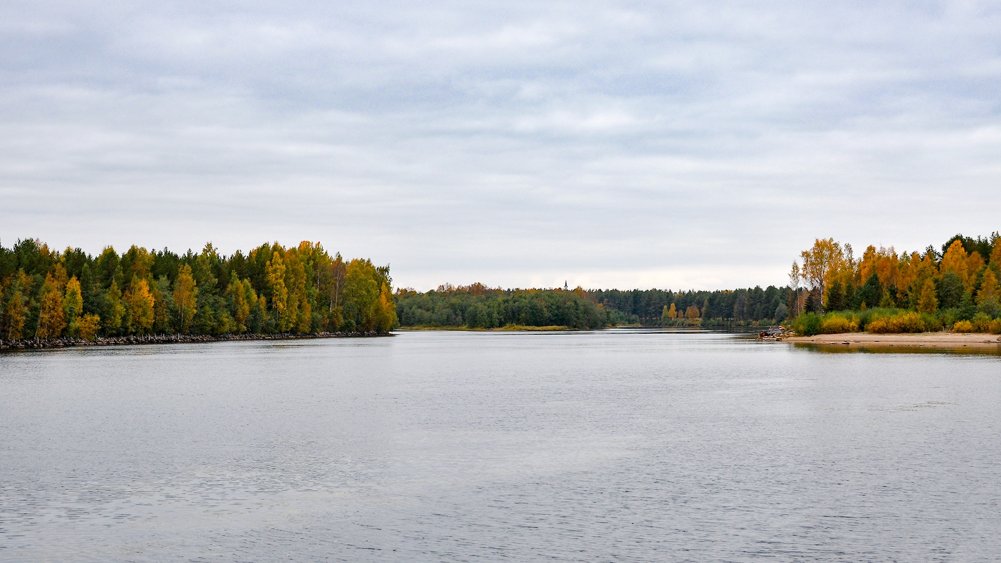 Quiet Flows the Byske river into the Gulf of Bothnia by Kjell Lundqvist