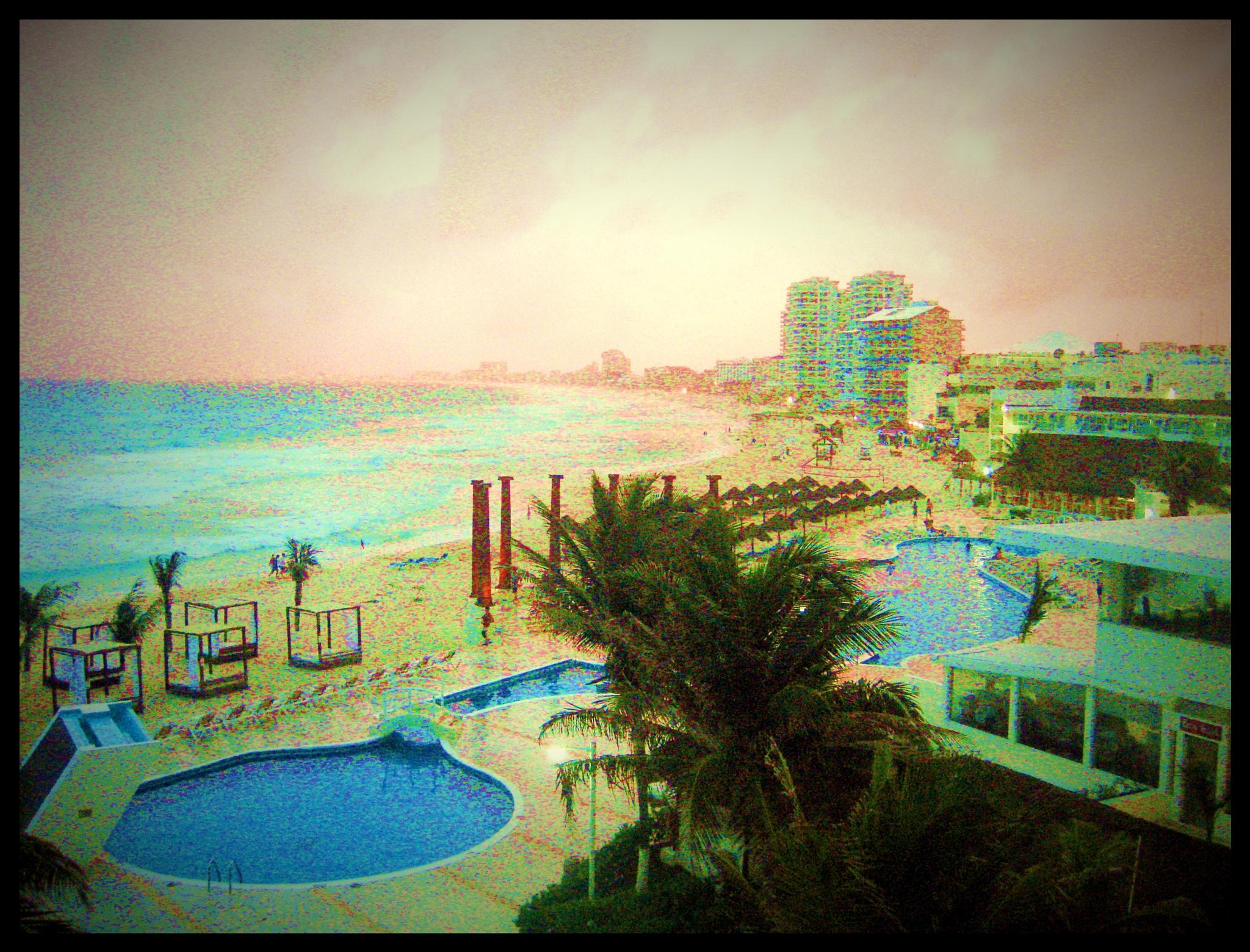 Cancun, Mexico - Old Fashioned Postcard Effect by ronnie429green