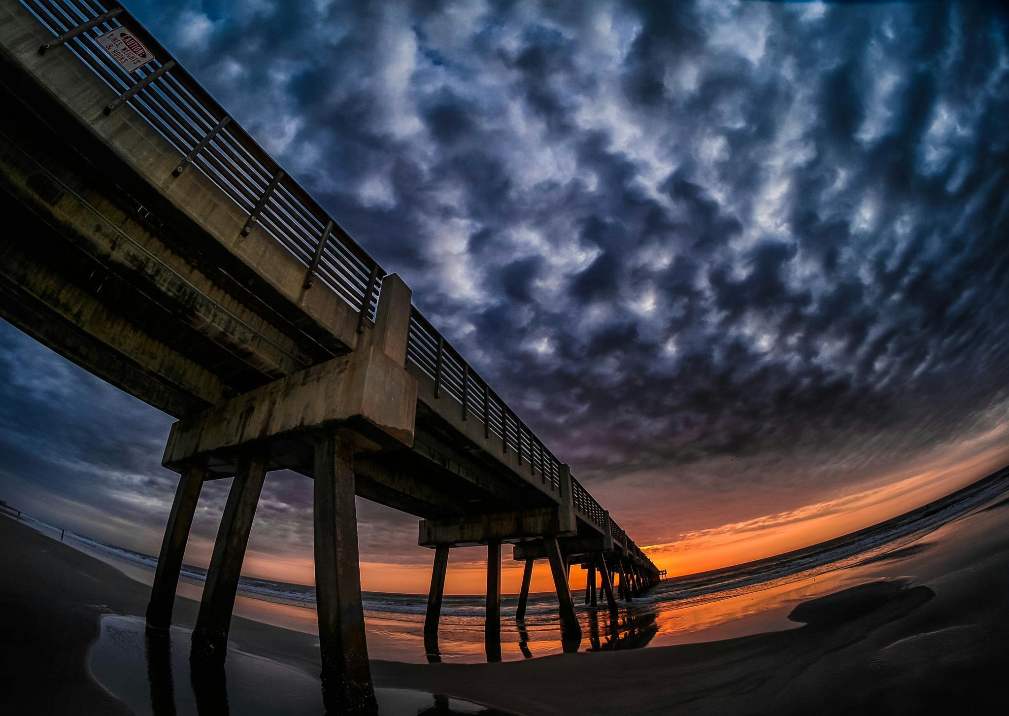 Photo in Landscape #dawn #sky #clouds #pier #beach #sunrise #florida #morning