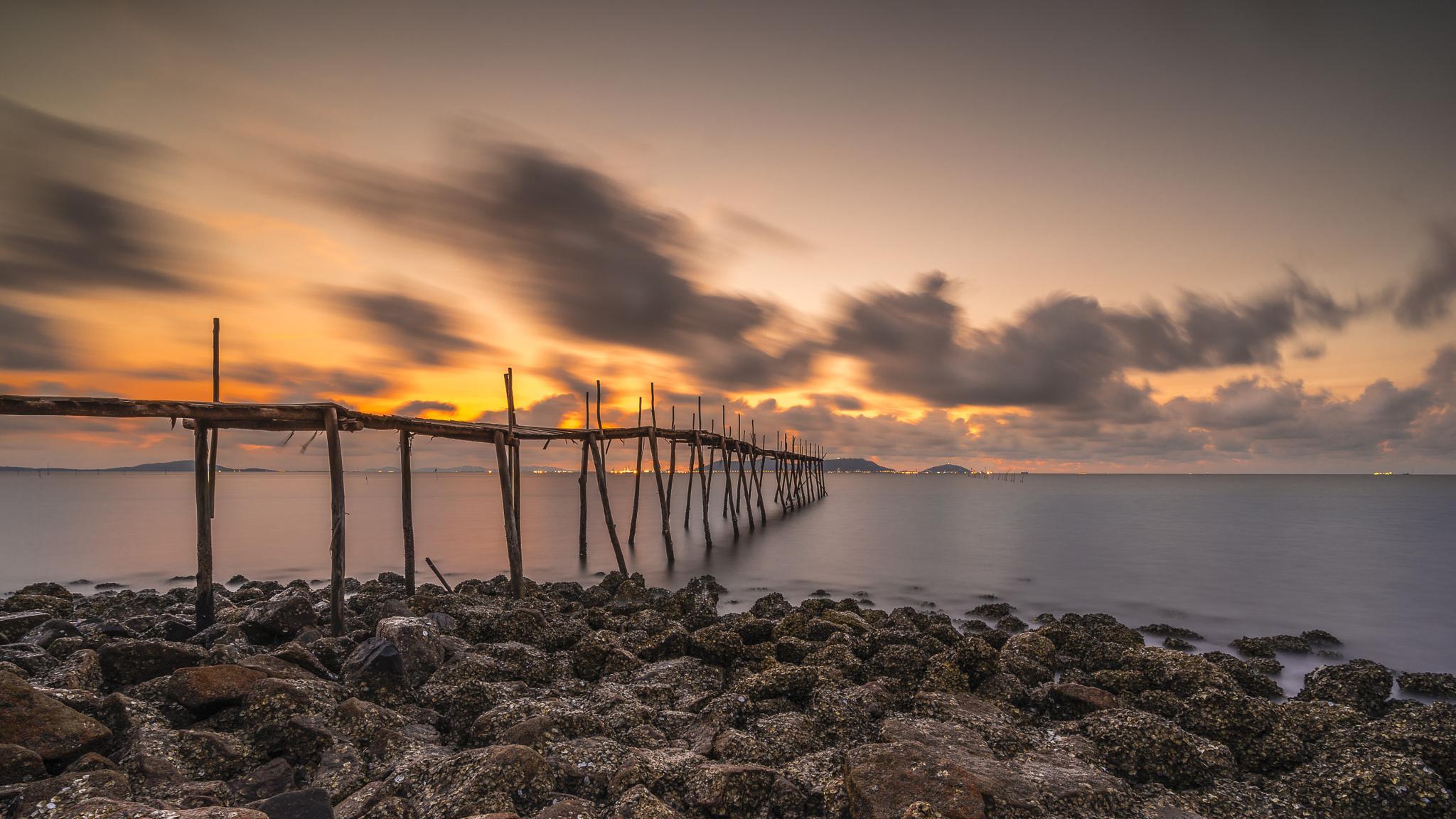 Sunrise on Can Gio beach by truonghaison