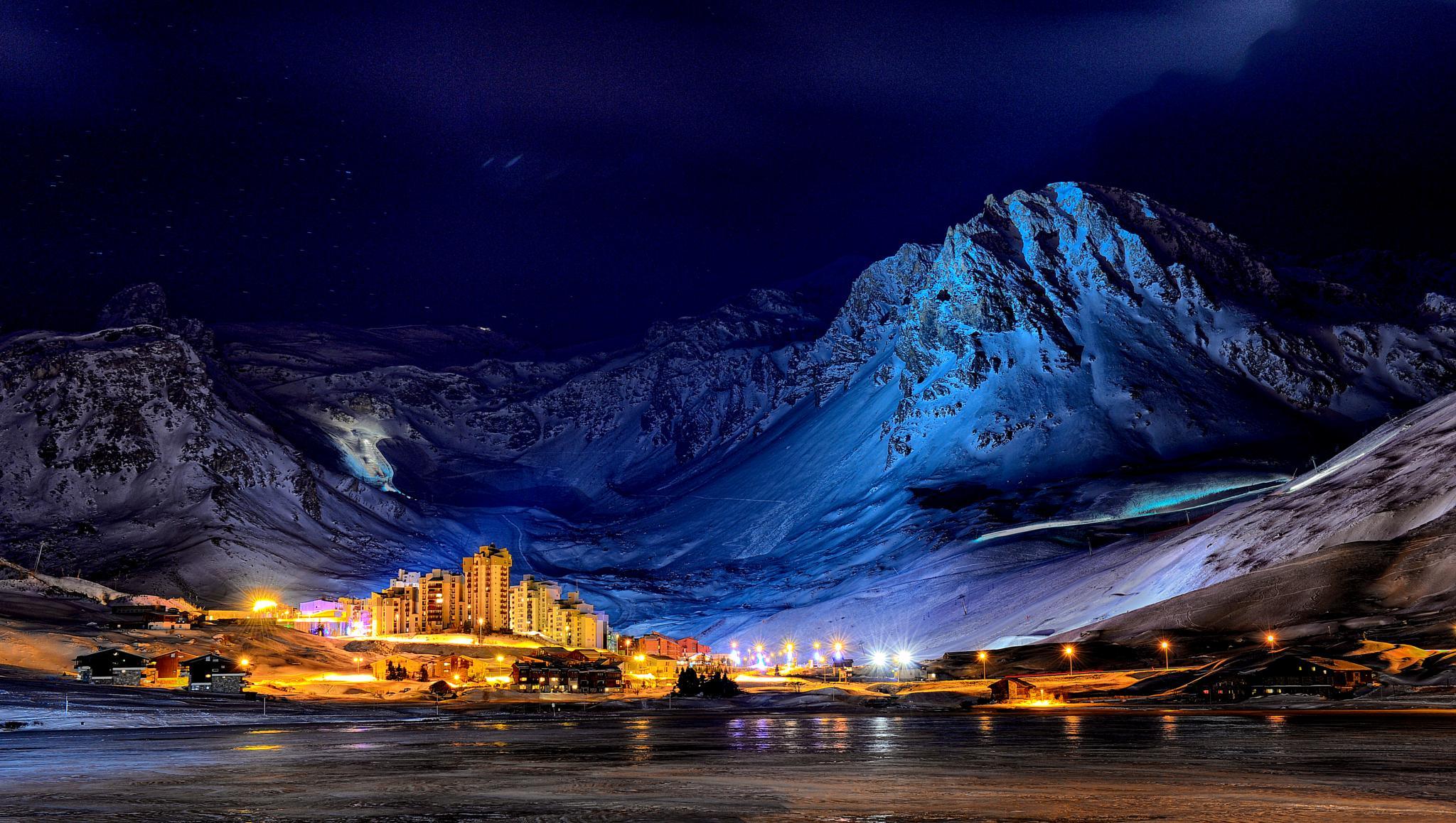 Photo in Landscape #france #alpes #tignes #snow #mountains #winter #ski #resort #blue #town