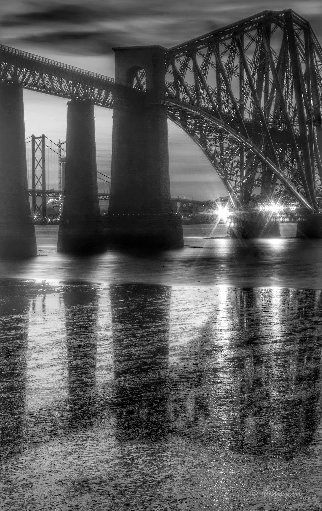 Forth Rail and Road Bridges in Black & White by myra.watson3