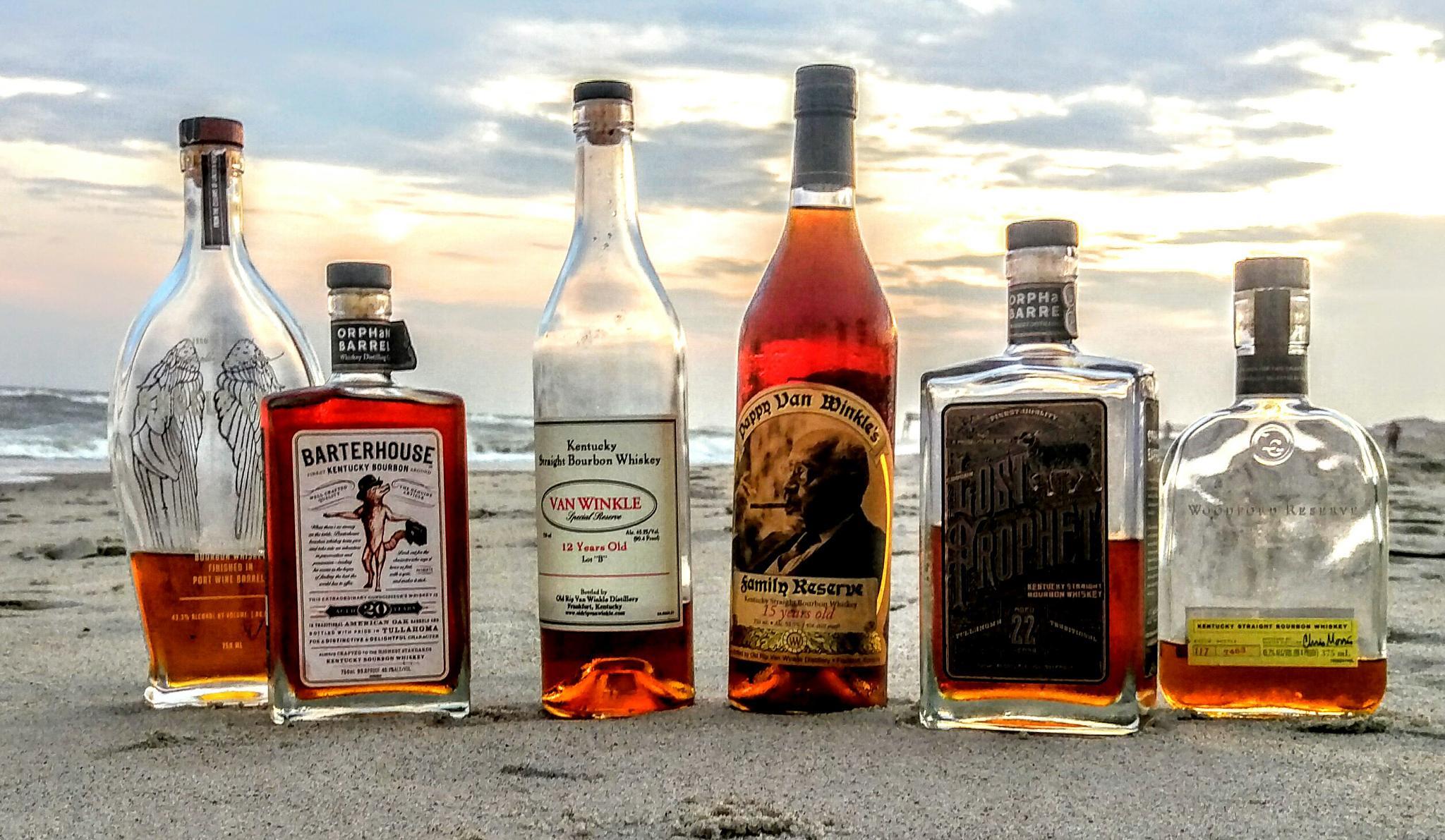 Respectable Bourbon Line up on the Beach by Dennis  Geiser