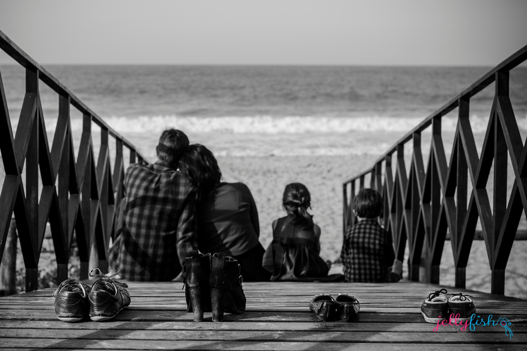 Photo in Family #family #blackandwhite #beach #canon #50mm #kids #shoes #familypicture
