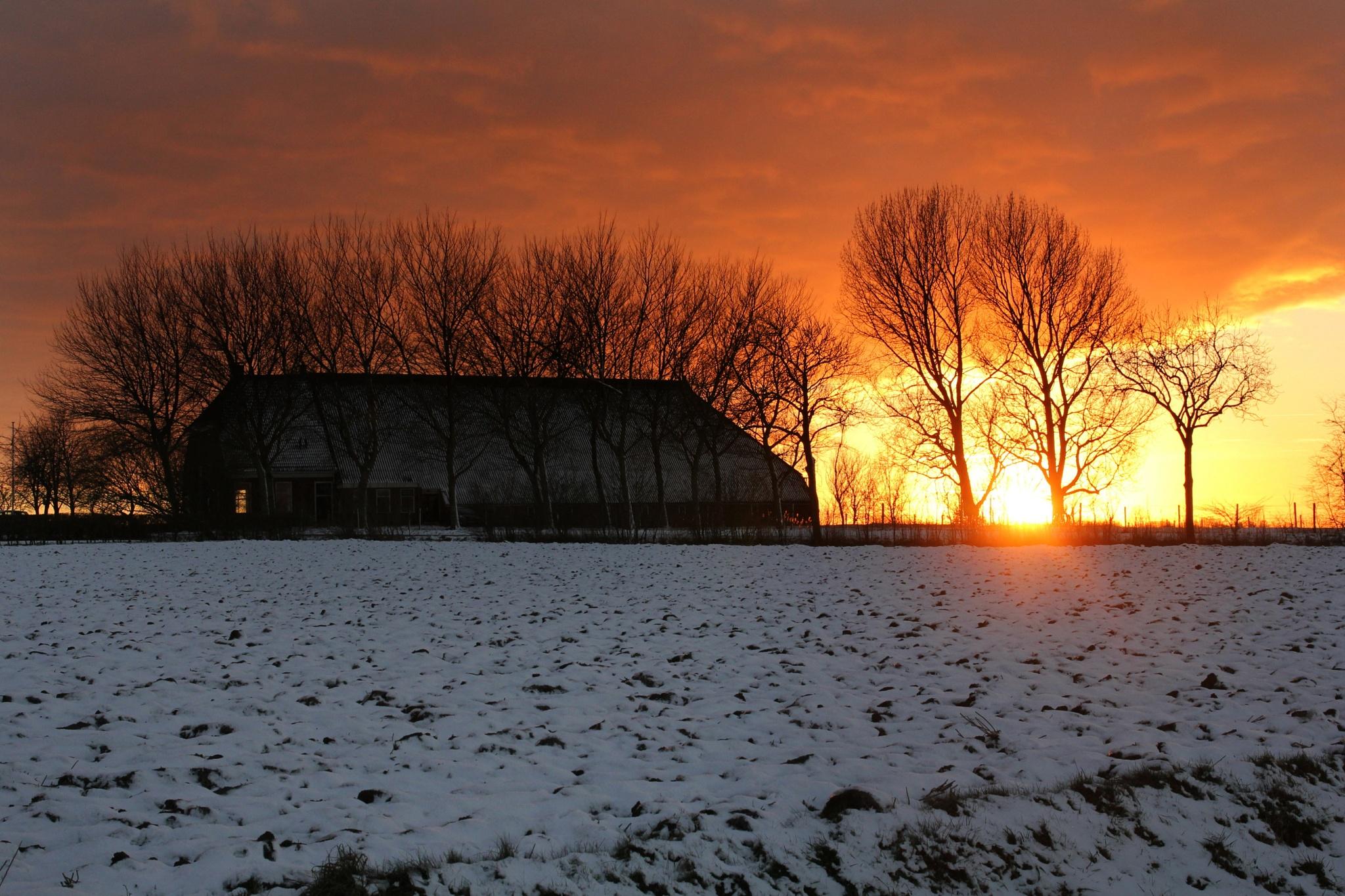 sunset  Groningen Holland by Jan Henk