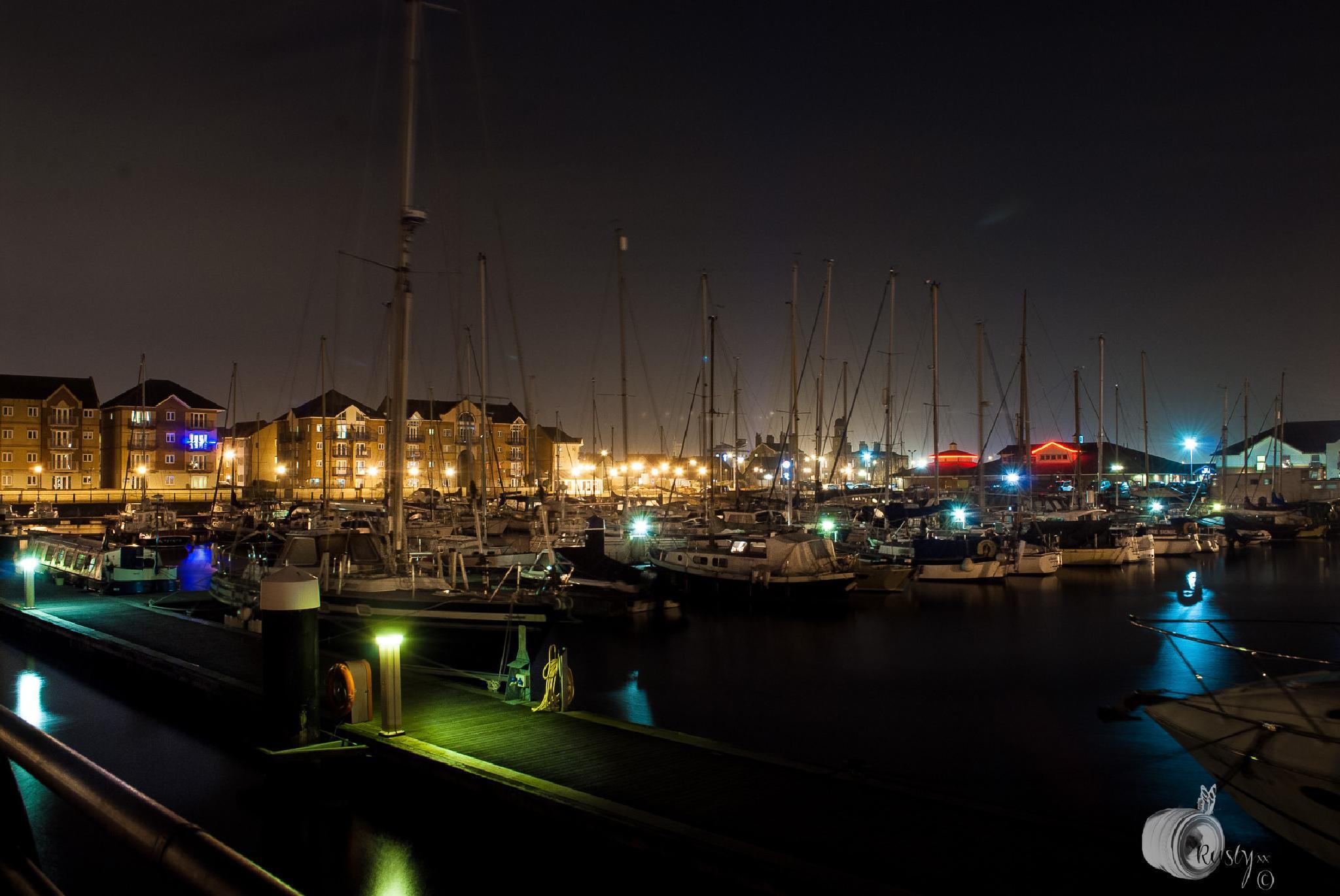 Night time at the marina. by NatureGirl