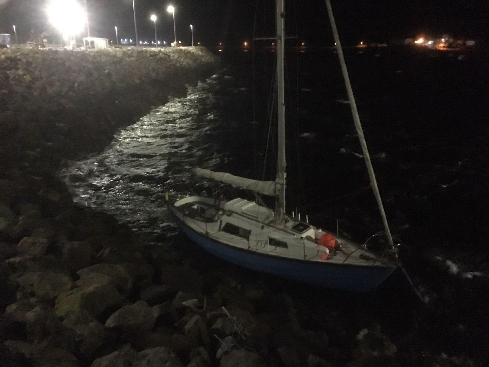 yacht breaks moorings newton basin stornoway by kenneth campbell