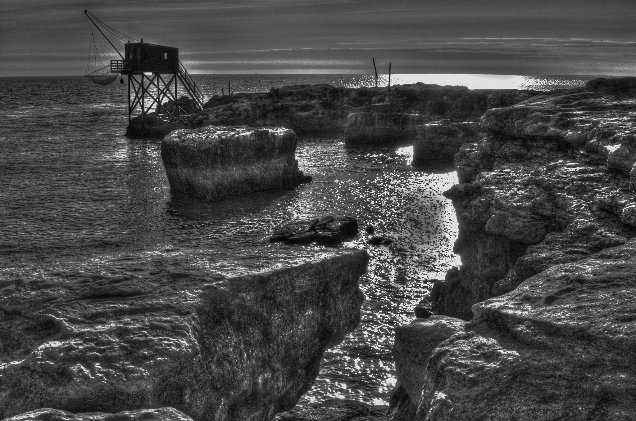 Lonely Shrimper's Hut. Black and White by stephen.harding.735