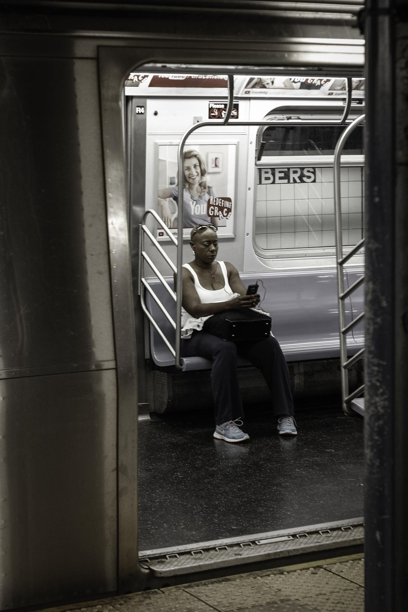 The A train at Chambers Station NYC by ruud.meulmeester