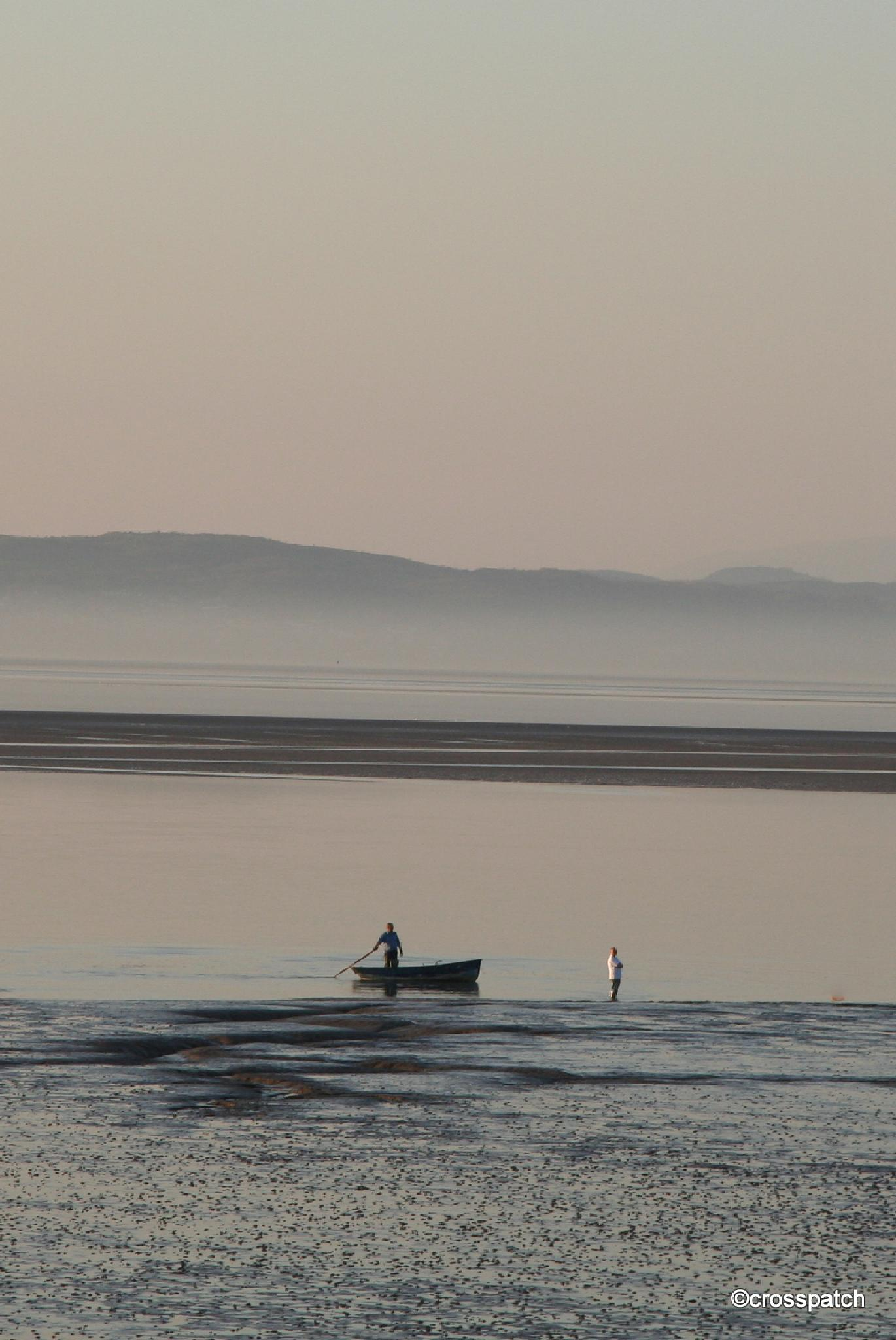 Late afternoon, the sun setting in Morecambe bay by lison Townley