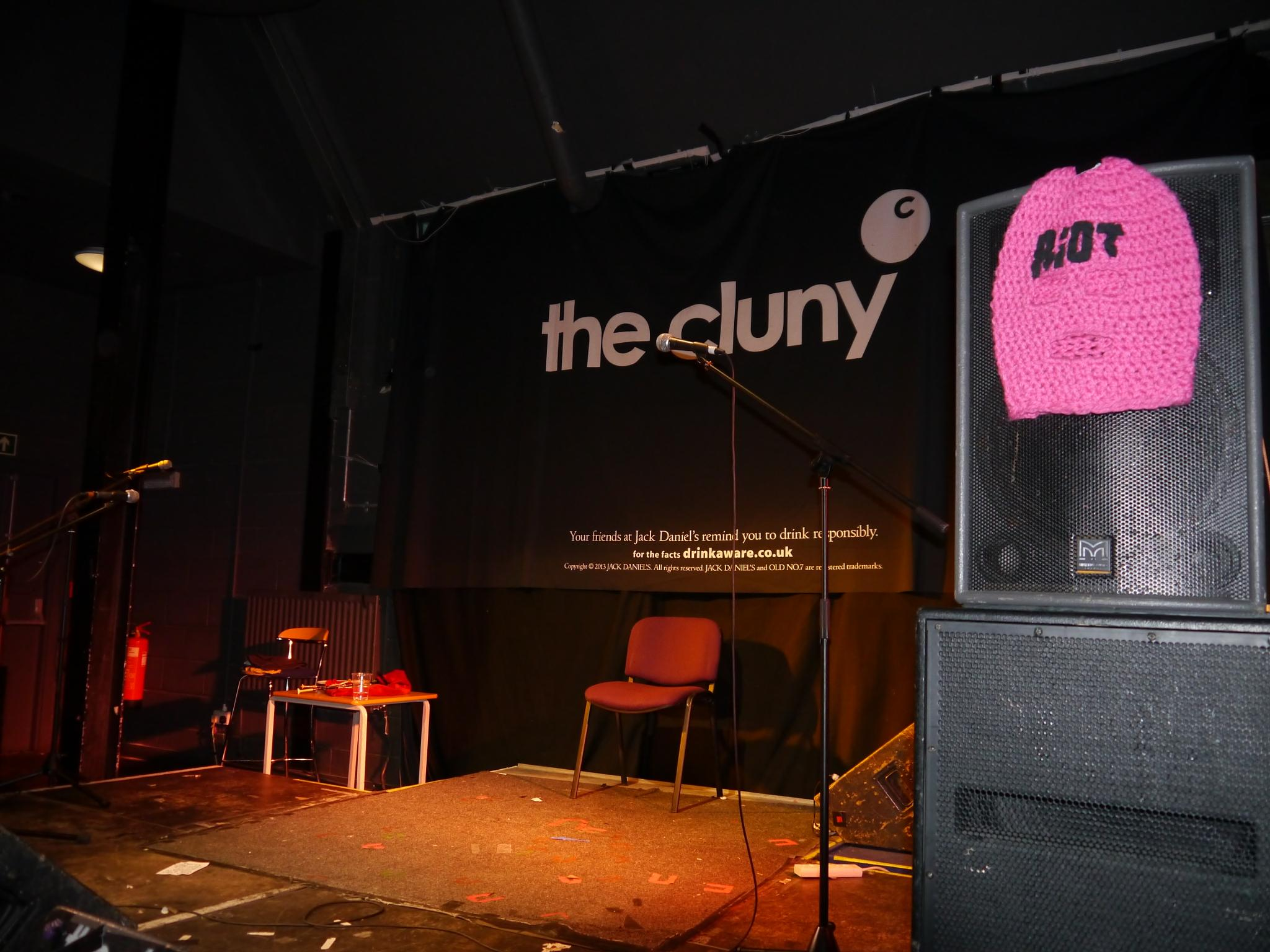 Stage is set for Pipe Riot at the the Cluny Newcastle last night. by Darren Turner