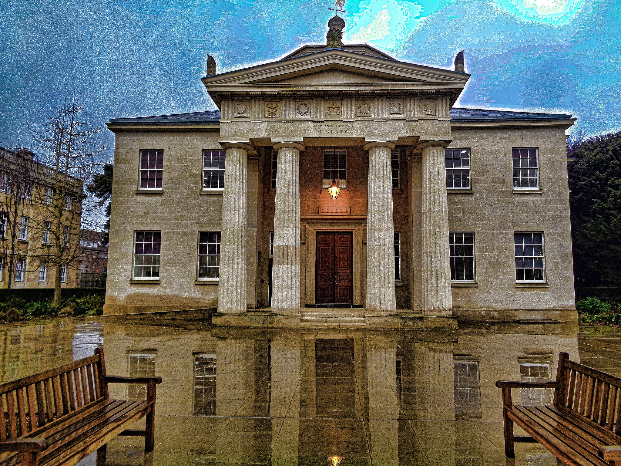 Photo in Architecture #cambridge #downing college #college #downing #library #columns #education #seats #england