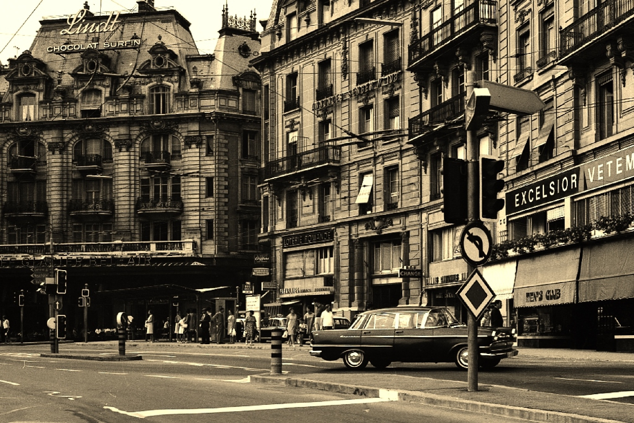 Street in Lausanne - vintage by rolf persson