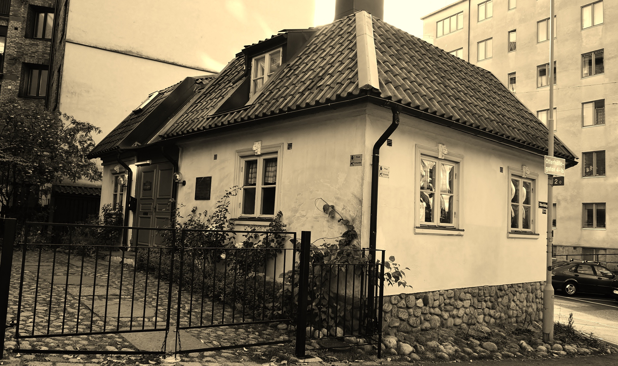 Queen Christinas hunting-villa in central city - edited in b&w sepia by rolf persson