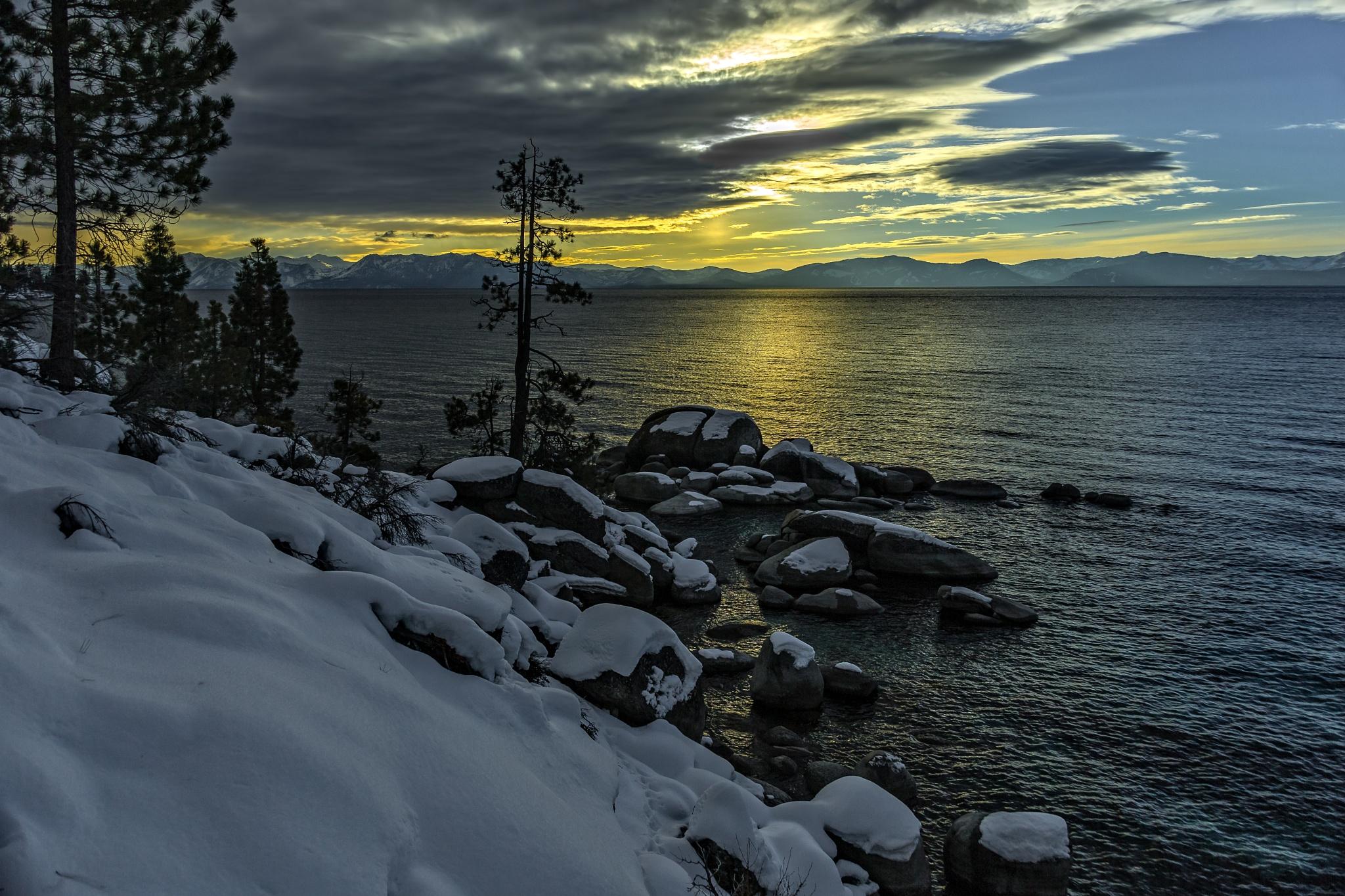 Photo in Landscape #snow #trees #rocks #sunset #tahoe