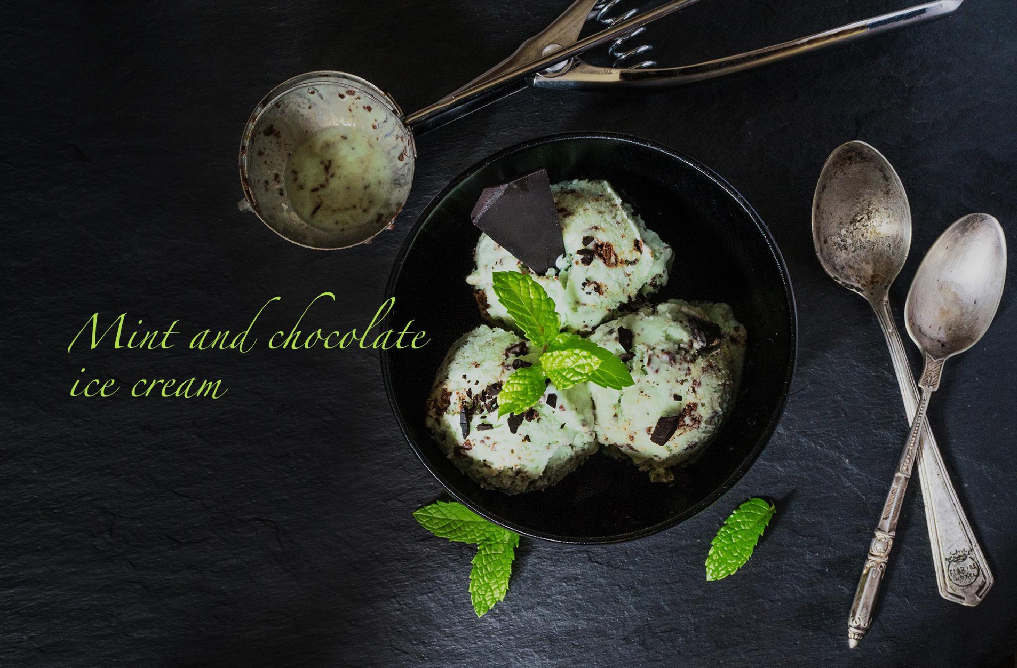 Mint and chocolate ice cream by Ana Gomez
