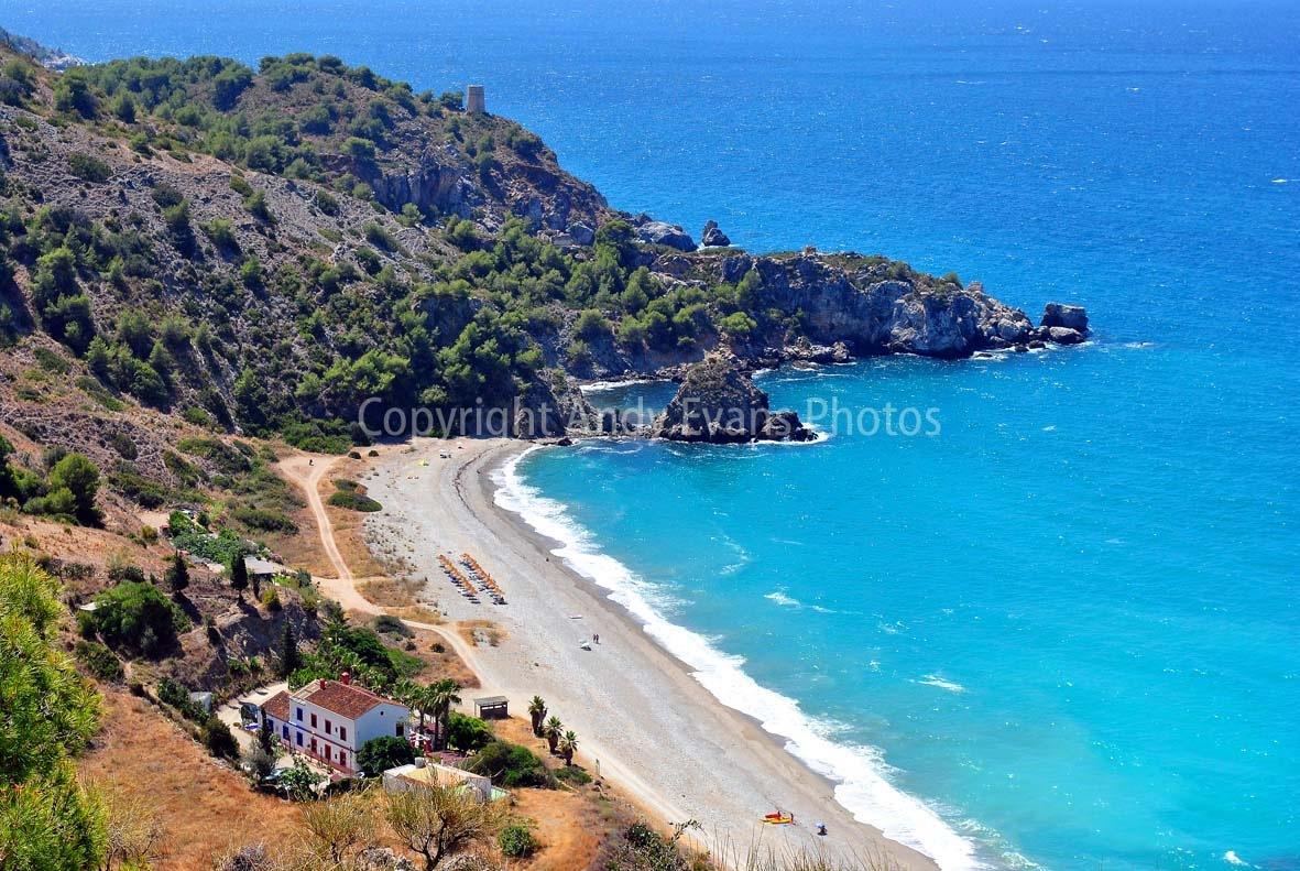 Playa de Canuelo, Parje Natural de los Acantilados de Maro-Cerro Gordo, Andalusia, Costa del Sol, Sp by AndyEvans