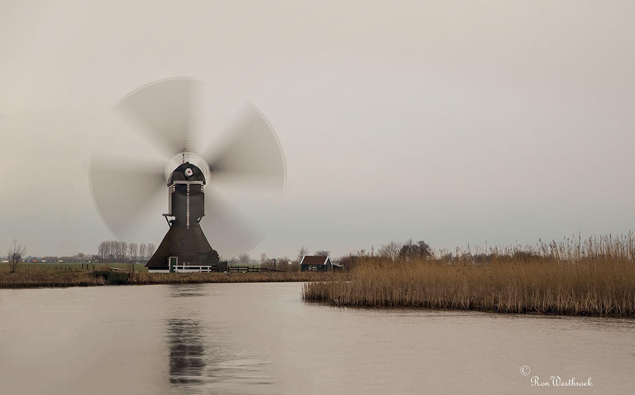 Mill pumps the water away. by Ron Westbroek