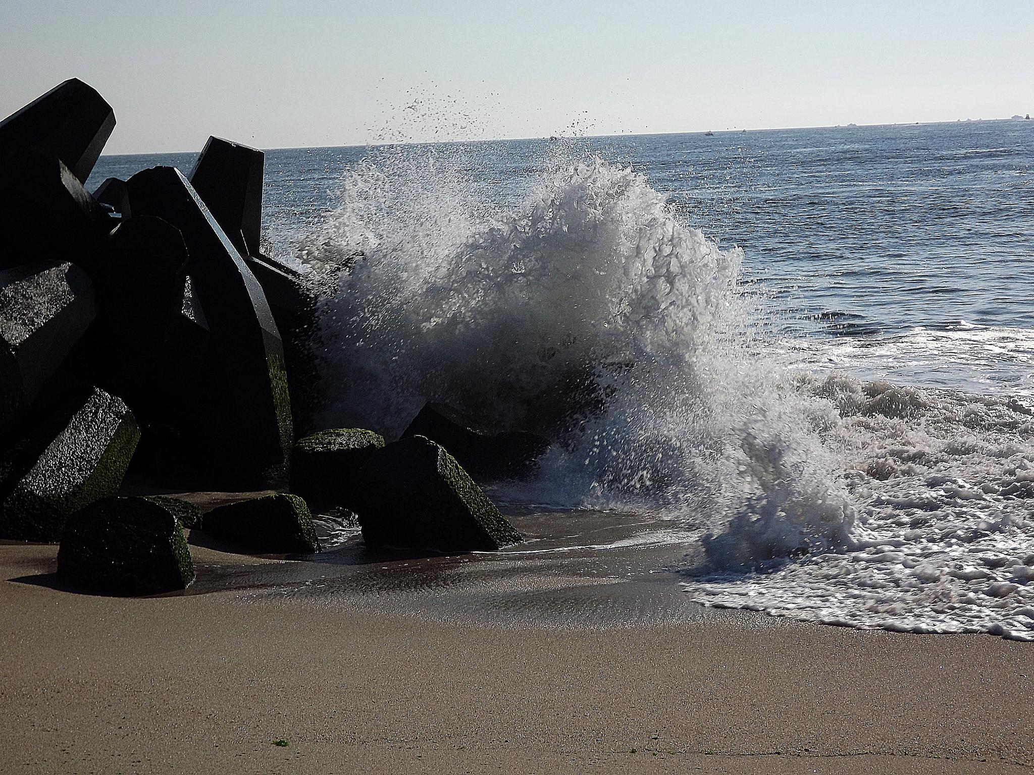 Waves against the rocks by Antonette Stiebritz