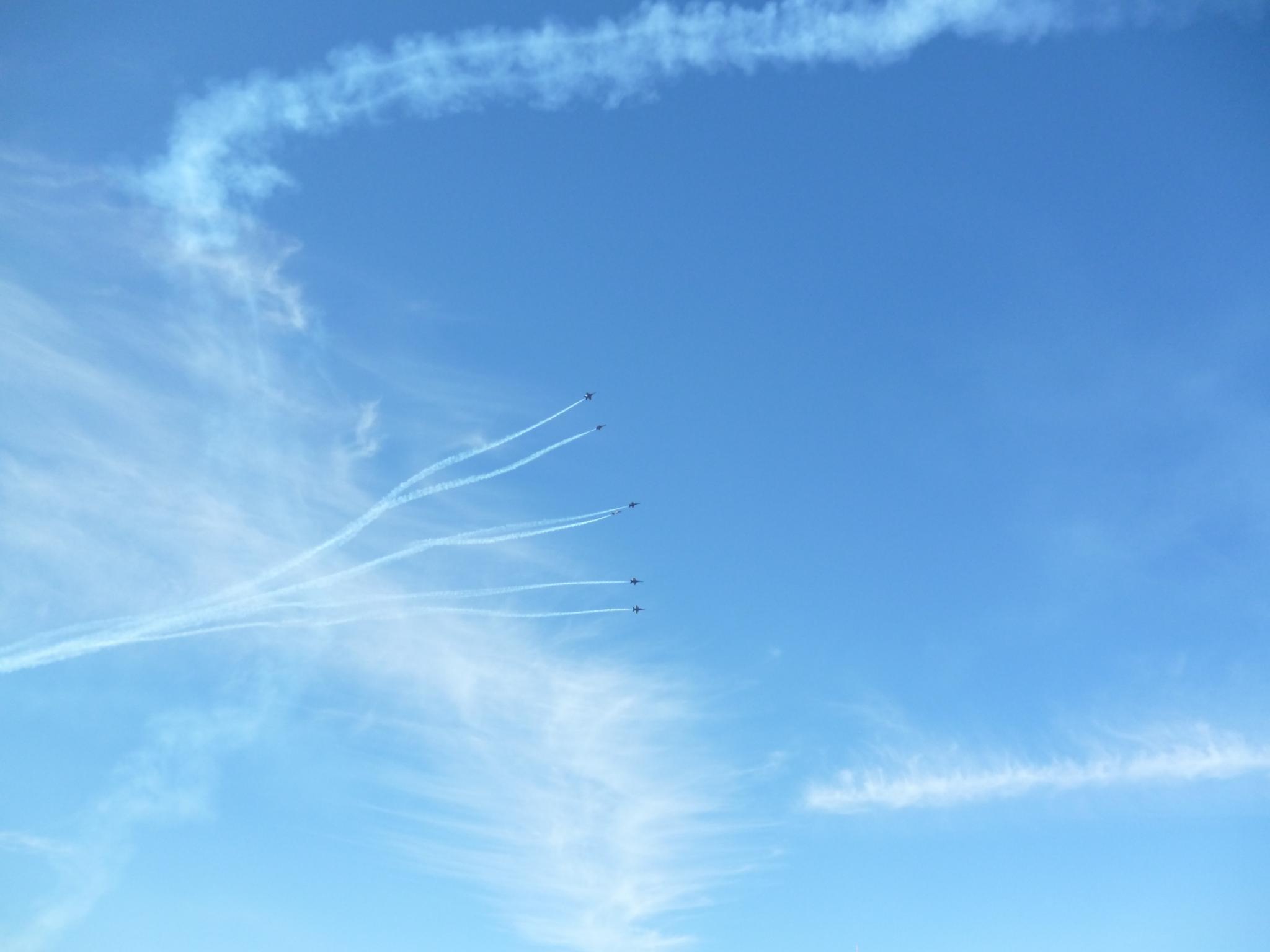 Blue Angels doing stunts during San Francisco, California's Fleet Week Air Show.... by elizabeth.nortonrecto