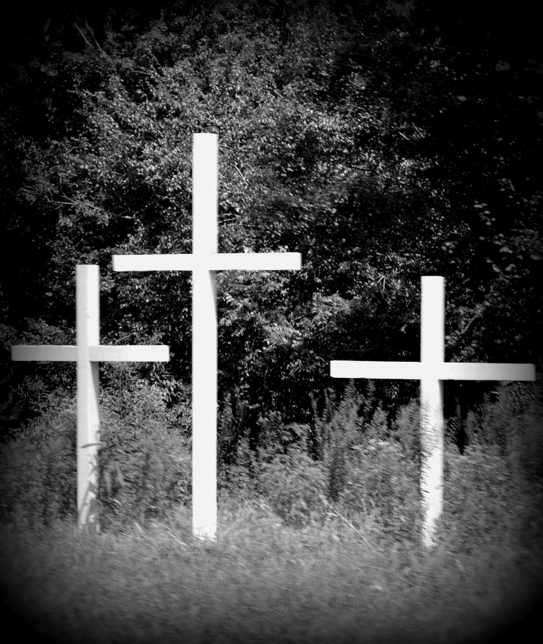 Three Crosses on the Roadside by Grace Lee