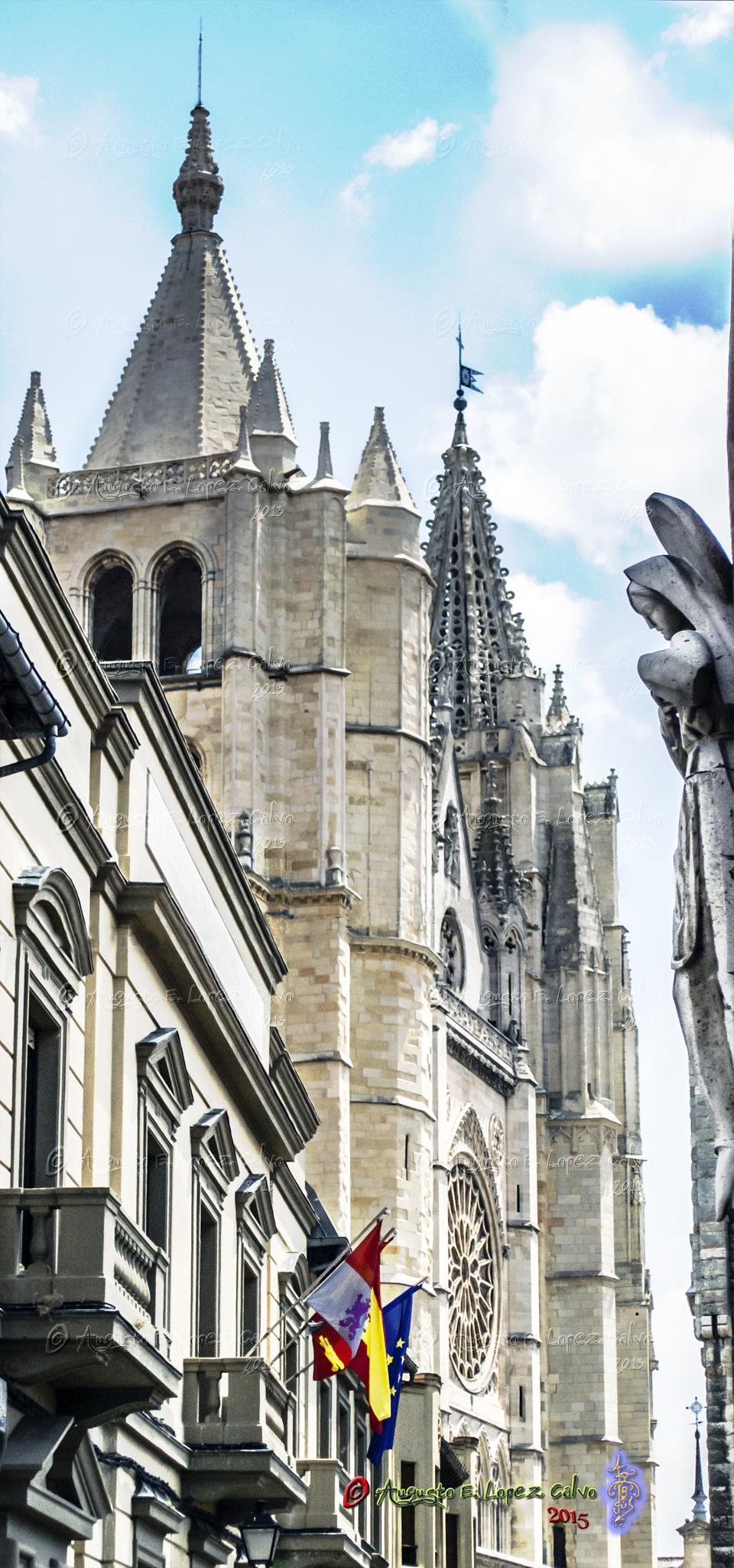 Custodiando la Catedral. León. España. by Augusto E. López Calvo