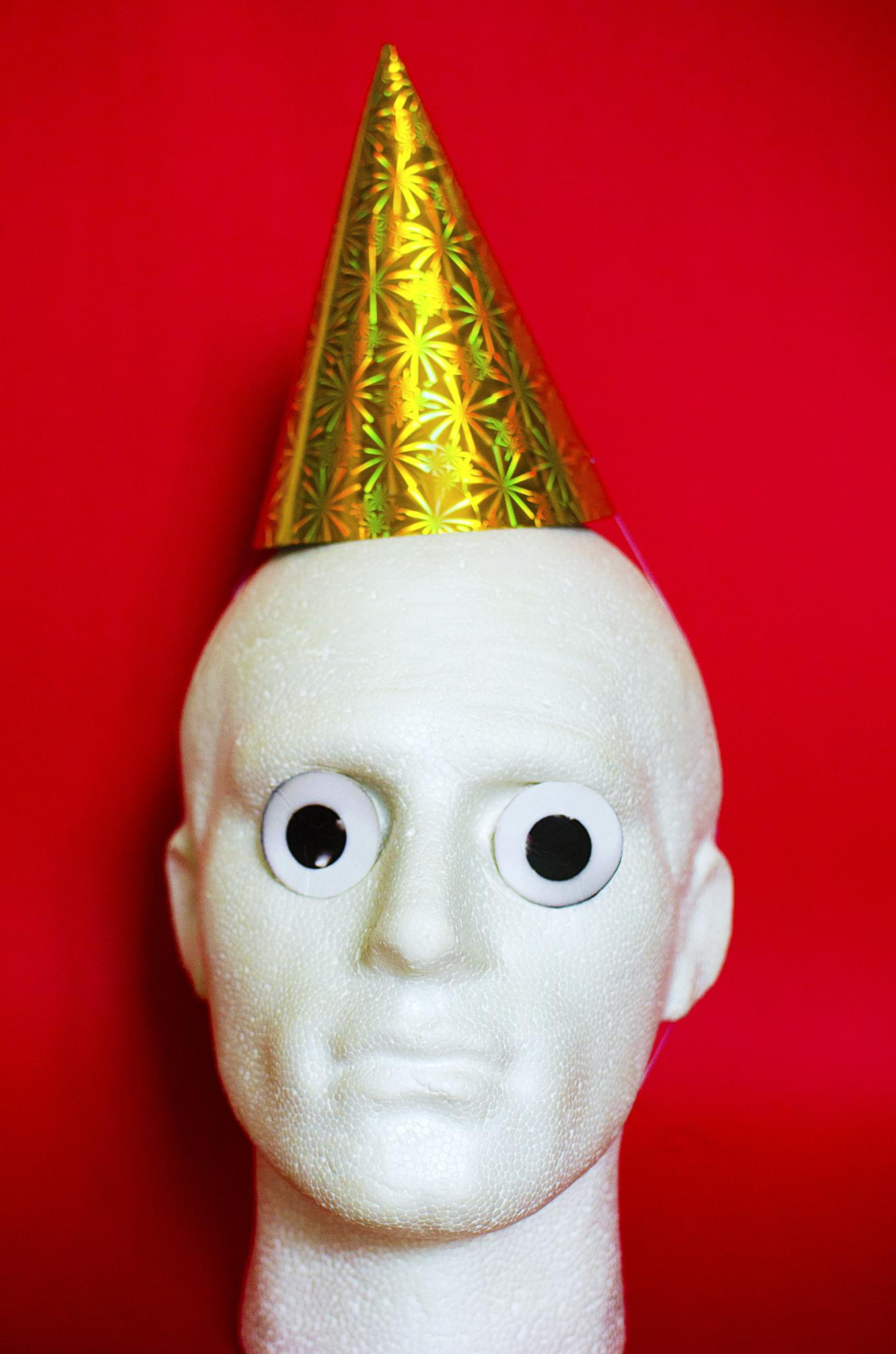 Photo in Fine Art #funny #head #party #hat #eyes #red #colour #portrait #humour #plastic